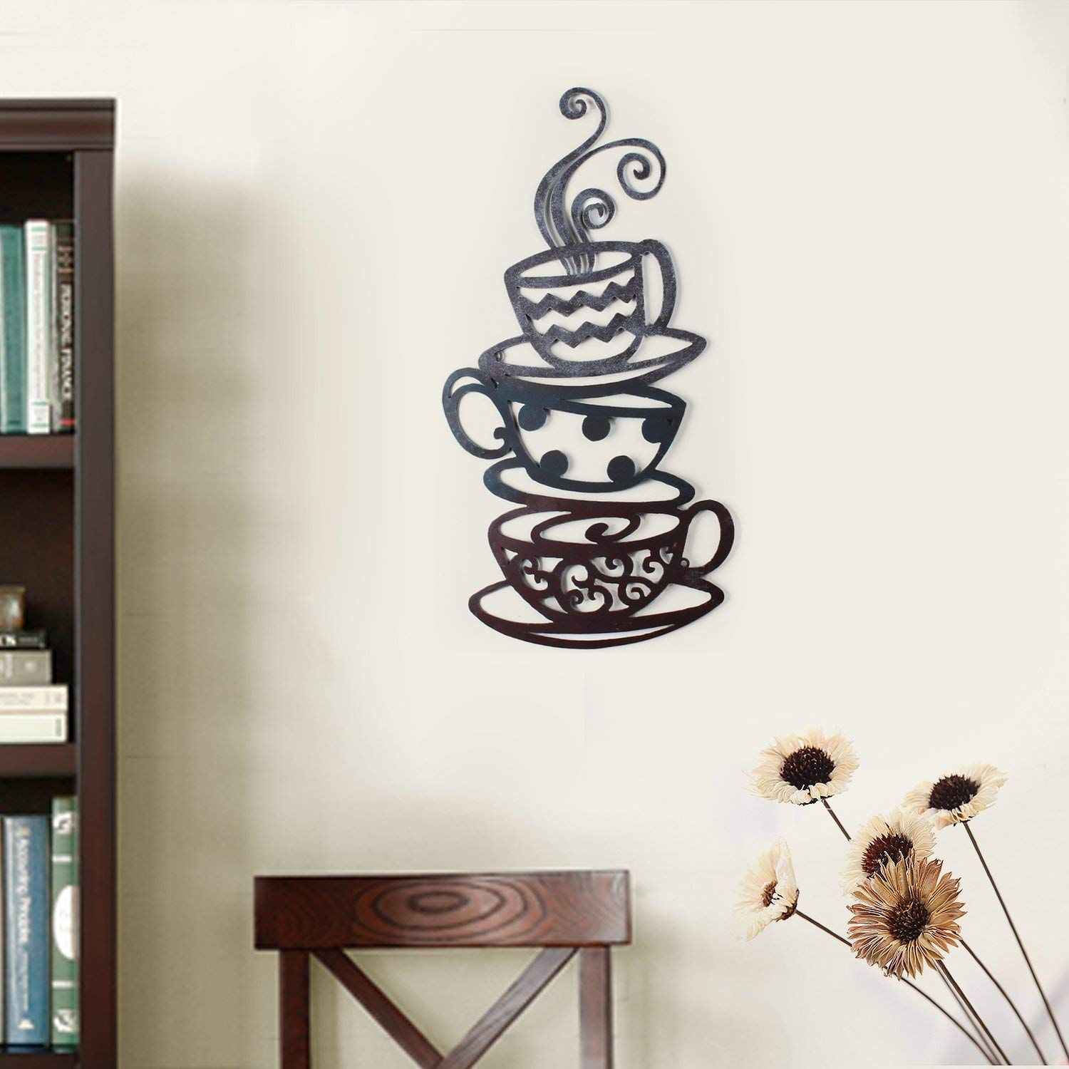 Home'art Decorative Iron Wall Hanging Accents, Three Stacked within Decorative Three Stacked Coffee Tea Cups Iron Widget Wall Decor (Image 18 of 30)