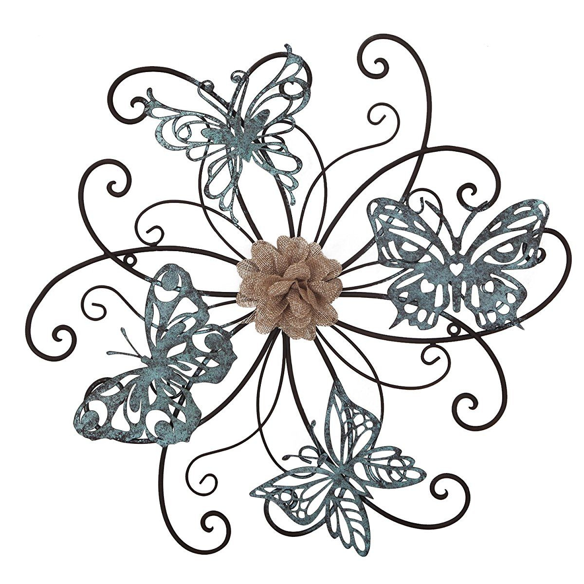 Homes Art Flower And Butterfly Urban Design Metal Wall Decor inside Flower Urban Design Metal Wall Decor (Image 18 of 30)