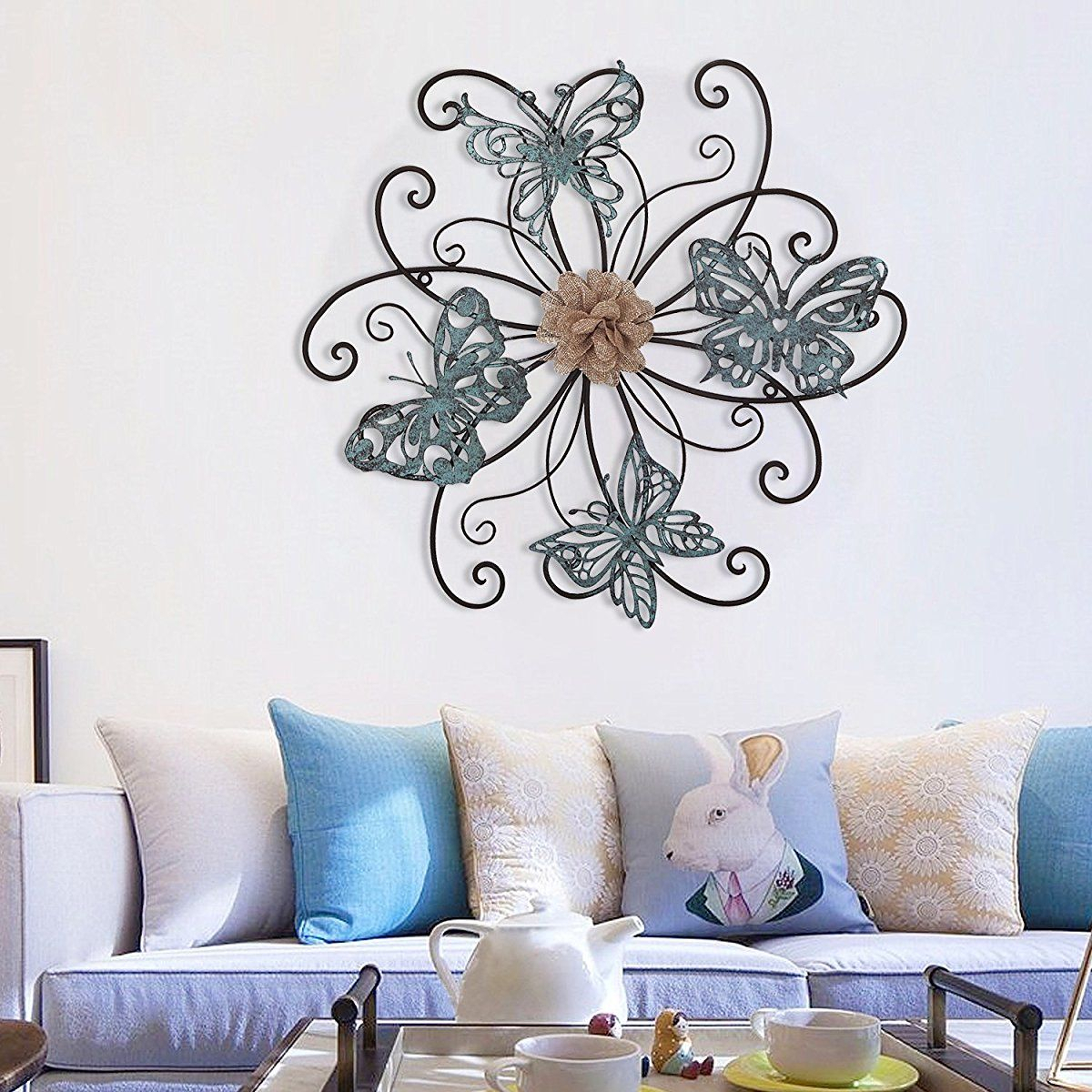 Homes Art Flower And Butterfly Urban Design Metal Wall Decor Throughout Flower Urban Design Metal Wall Decor (View 21 of 30)