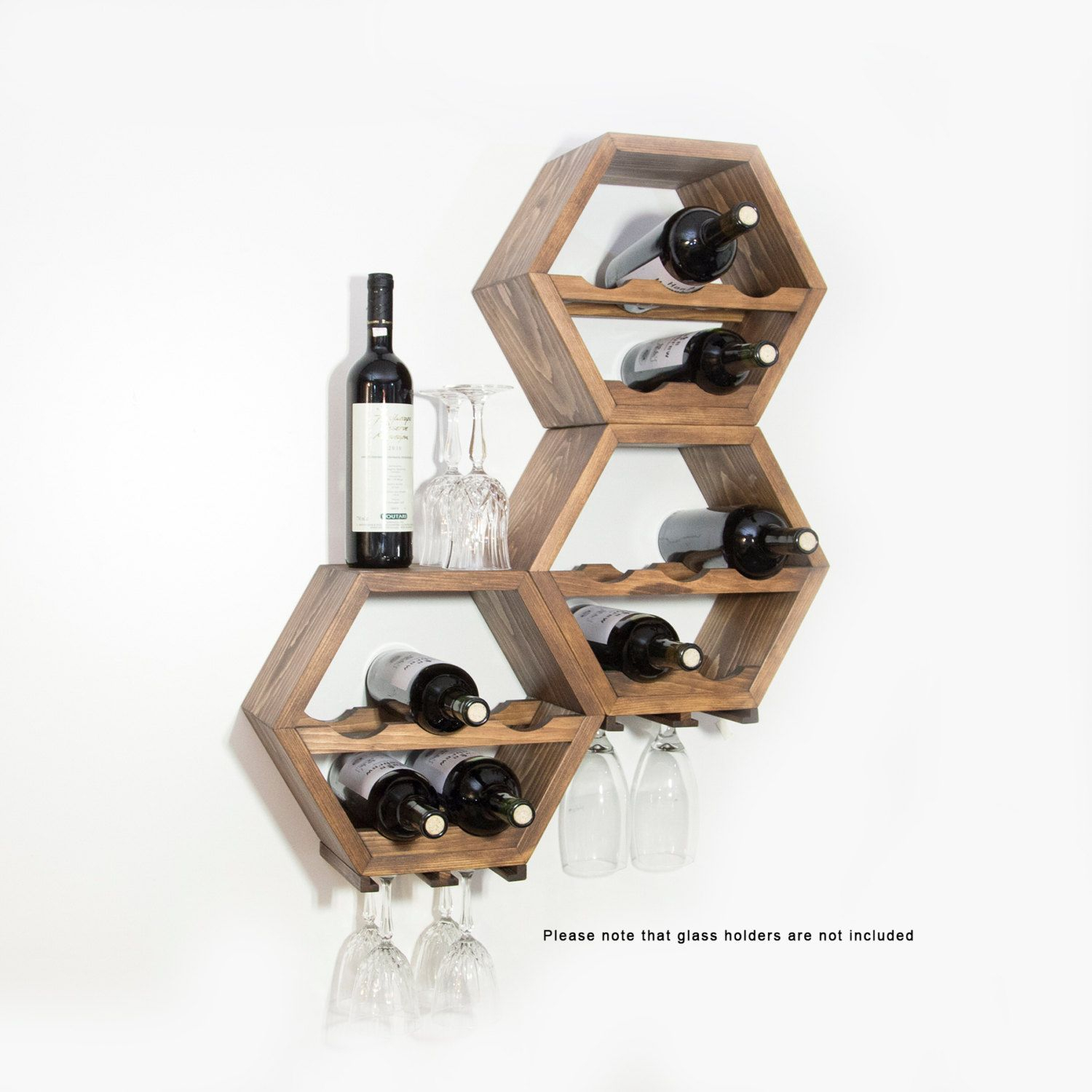 Honeycomb Wine Rack, Wall Wine Racks, Wine Storage, Hexagon Intended For Three Glass Holder Wall Decor (View 5 of 30)