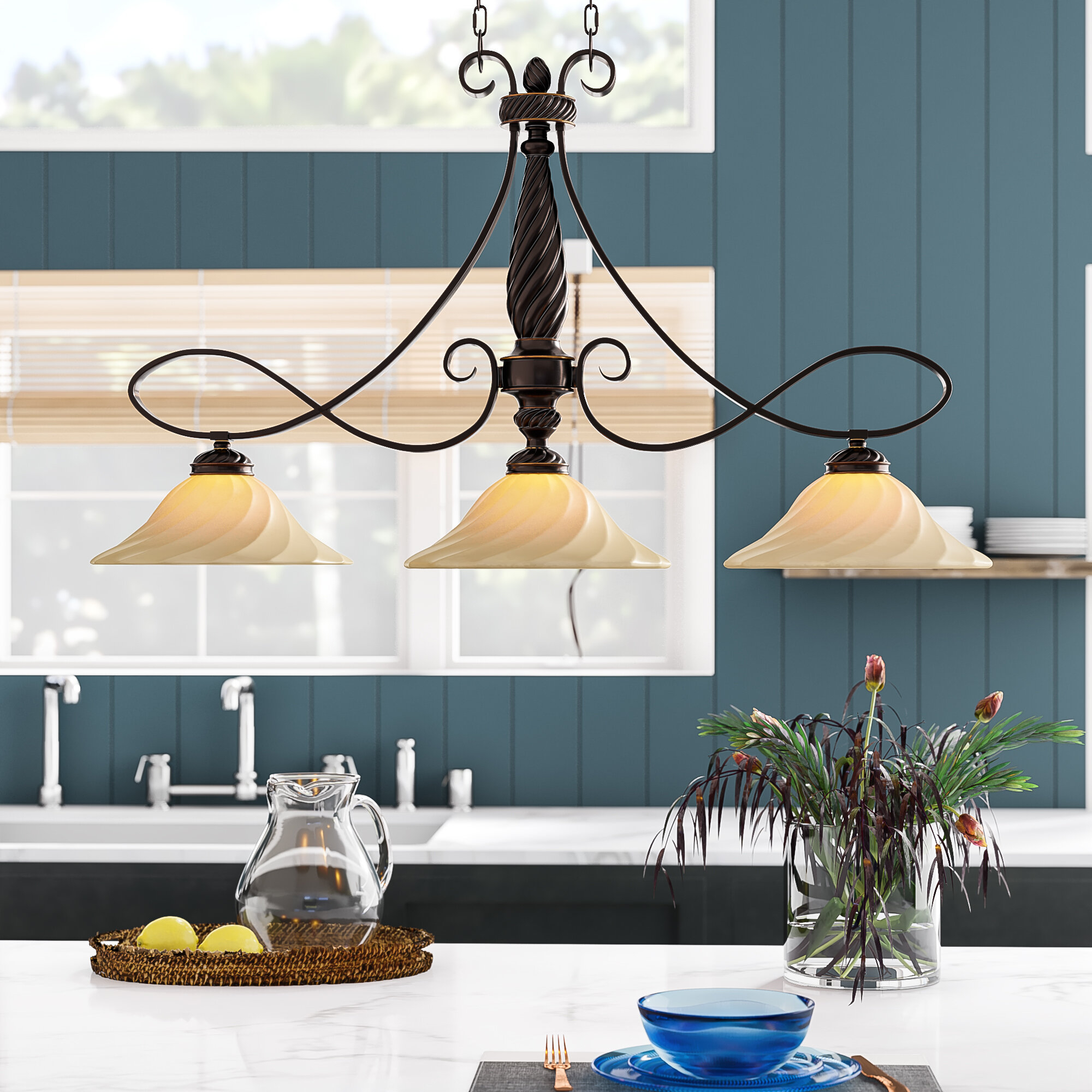 Hoopeston 3 Light Kitchen Island Pendant With Van Horne 3 Light Single Teardrop Pendants (View 17 of 30)