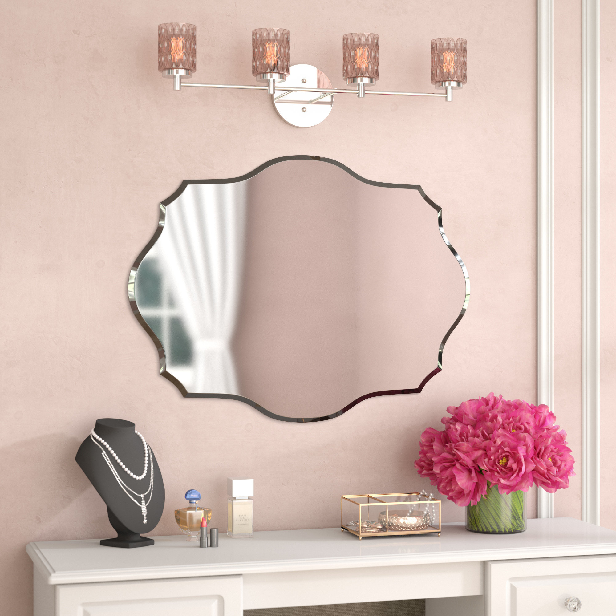 House Of Hampton Mccroy Glam Frameless Wall Mirror & Reviews in Estefania Frameless Wall Mirrors (Image 15 of 30)