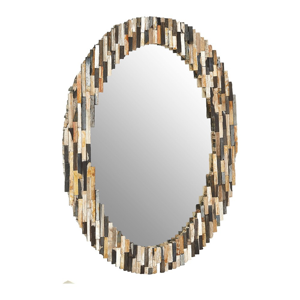 Houseology Collection Natural Tiled Oval Wall Mirror Intended For Oval Wood Wall Mirrors (View 13 of 30)