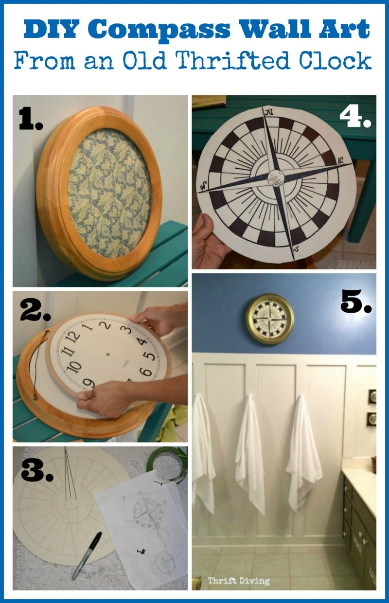 How To Make Diy Compass Wall Art Using An Old Clock | Diy Pertaining To Round Compass Wall Decor (View 6 of 30)