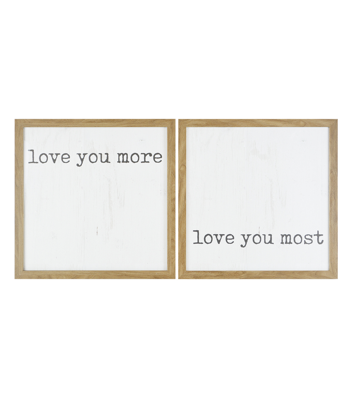 Hudson Finds 2 Pk 16''x16'' Wall Art-Love You More & Love You Most pertaining to 'love You More' Wood Wall Decor (Image 10 of 30)