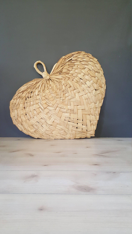 Huge 3ft Straw Rattan Wall Fan ~ Vintage Boho Woven Heart For 2 Piece Heart Shaped Fan Wall Decor Sets (View 5 of 30)