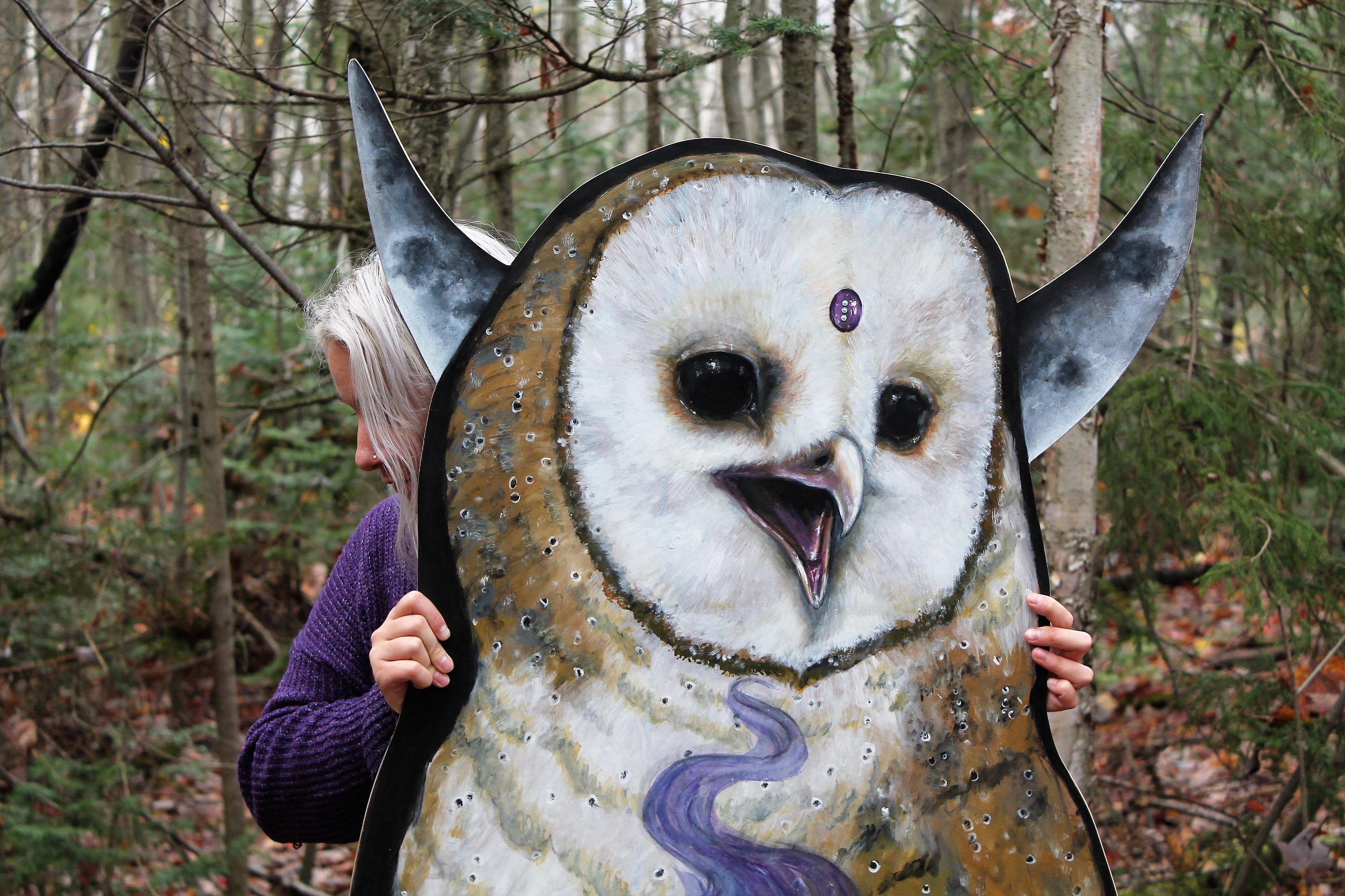 Huge Barn Owl Painting / Wall Decor - Owl Wall Art- Witchy Owl Painting-  Cauldron Moon And Lantern- Acrylic On Massonite- Lantern Light for Atlantis Faux Taxidermy Wall Decor (Image 13 of 30)