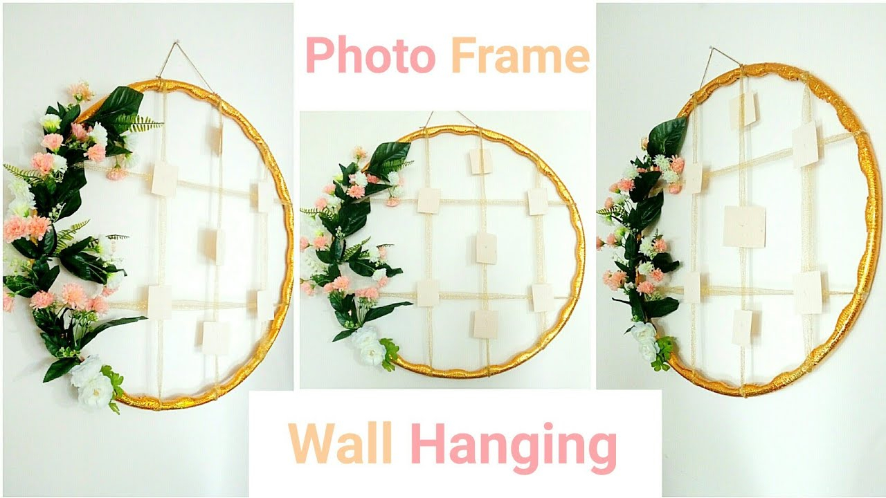 Hula Hoop Handmade Photo Frame Wall Hanging| Beautiful Home Decor| Diy| intended for Floral Wreath Wood Framed Wall Decor (Image 22 of 30)