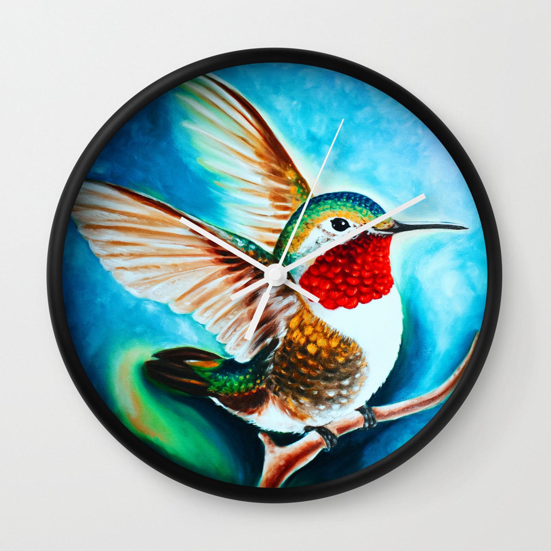 Hummingbird Landing Color Cyan Art Wall Clock with regard to Landing Art Wall Decor (Image 12 of 30)