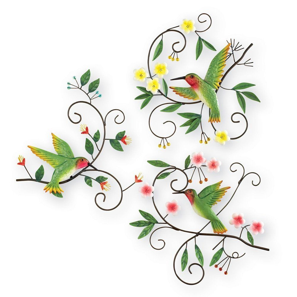 Hummingbird Scrolling Vines Wall Art – Set Of 3, Green Inside Raheem Flowers Metal Wall Decor (View 13 of 30)