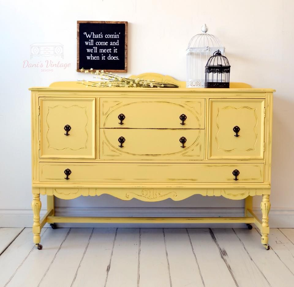 I Love This Vibrantly Painted Yellow / Mustard Antique Within Joyner Sideboards (Image 18 of 30)