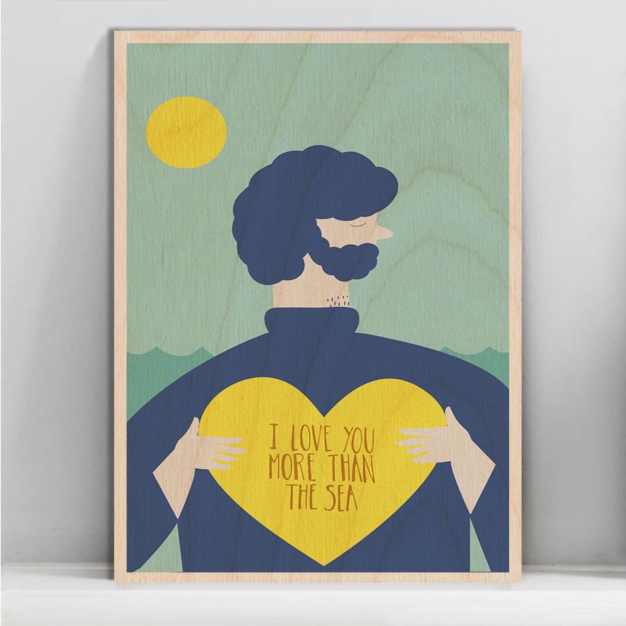 I Love You More Than The Sea Timbergram Wall Art regarding 'love You More' Wood Wall Decor (Image 13 of 30)