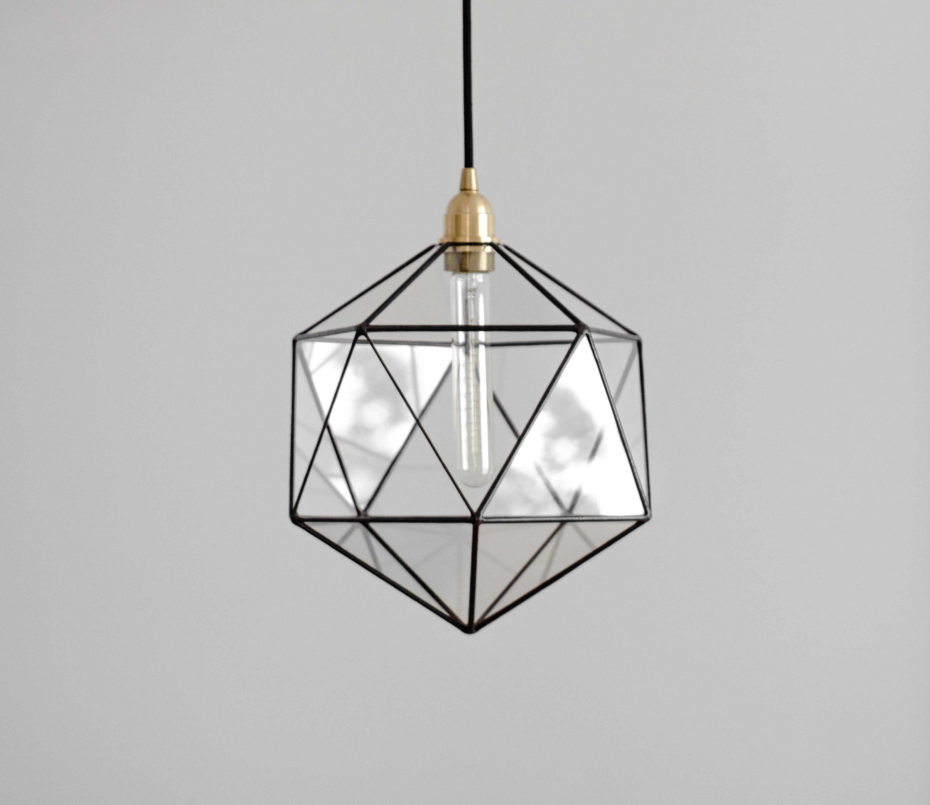 Icosahedron Glass Chandelier / Geometric Pendant Light / Modern Warm Retro Bulb Lamp / 70's Industrial Retro Furniture / Hanging Lighting Within 1 Light Unique / Statement Geometric Pendants (View 19 of 30)