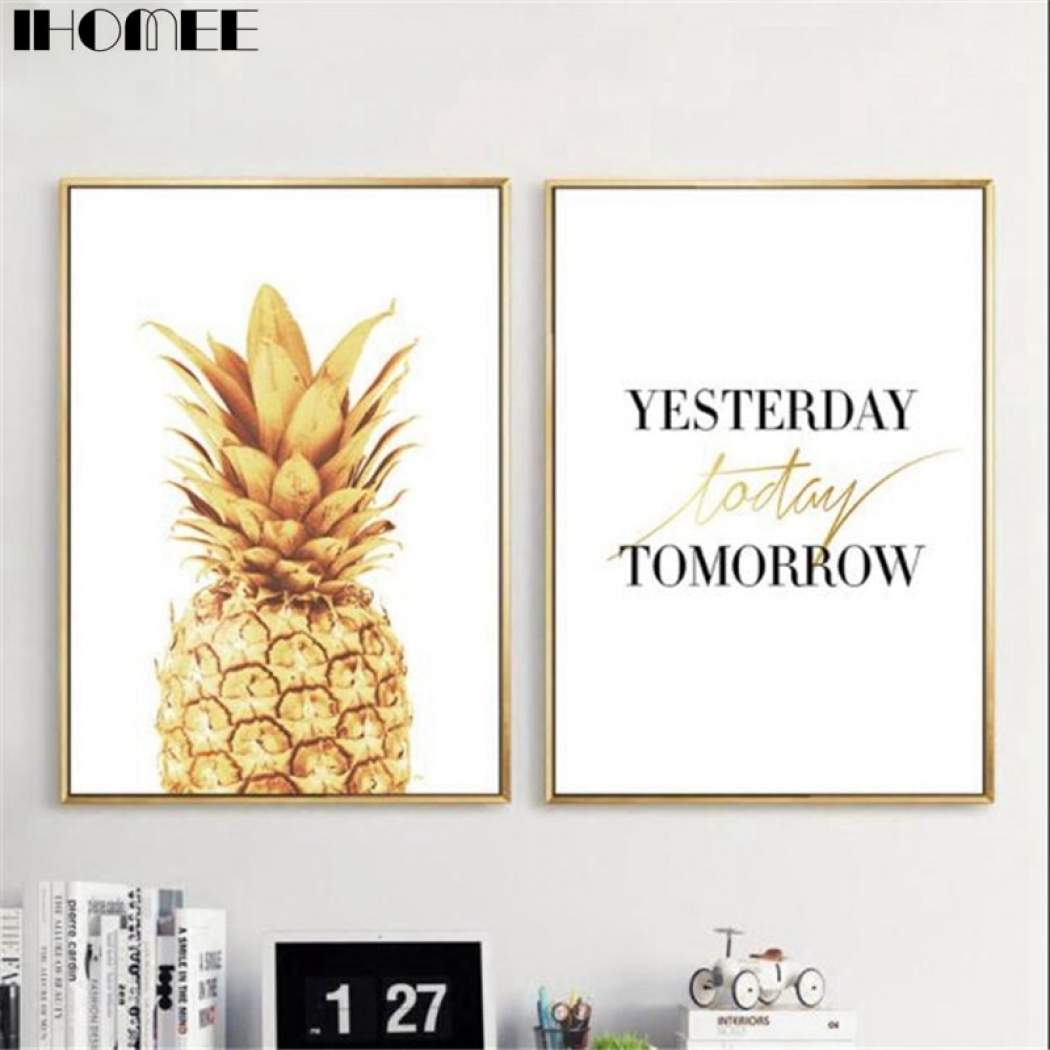 Ihomee Canvas Wall Art Painting Gold Pineapple Posters And Print Pictures For Living Room Bedroom Home Wall Decor Drop Shipping Regarding Pineapple Wall Decor (View 24 of 30)
