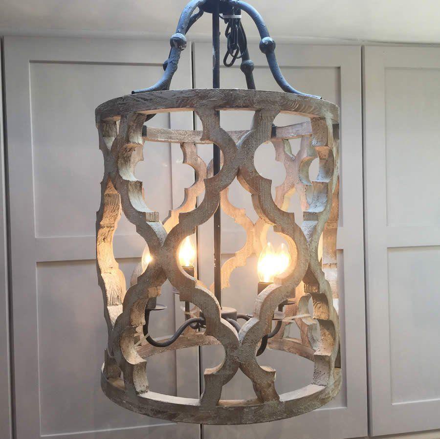 Ikat Design Carved Wooden 4 Light Lantern Pendant With Metal Regarding Nisbet 4 Light Lantern Geometric Pendants (View 14 of 30)