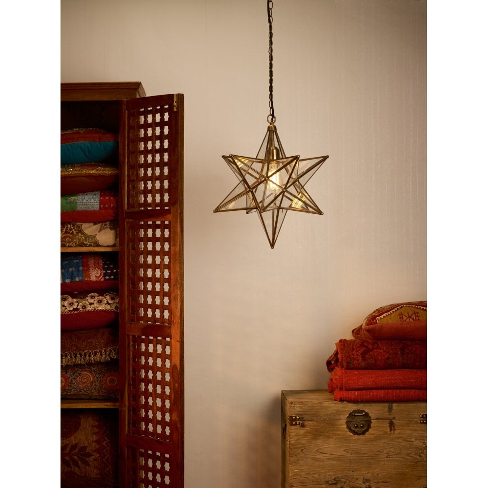 Ila8675 Ilario Single Light Large Ceiling Pendant In Antique Brass Finish  With Glass Panelled Star Shade for 1-Light Single Star Pendants (Image 22 of 30)