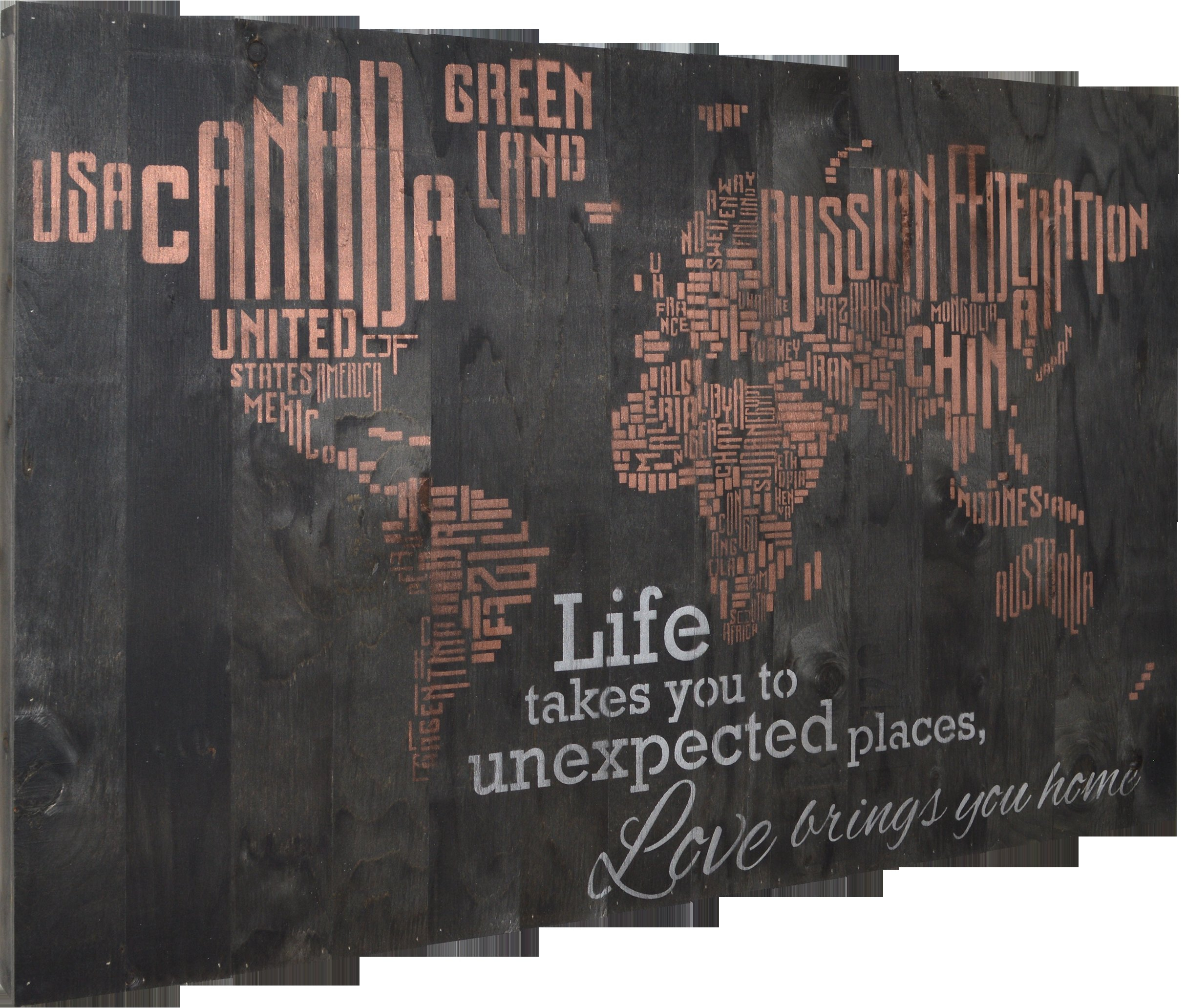 "In-A-Word World Map - Life Takes You To Unexpected Places, Love Brings You  Home Textual Art with In-a-Word ""welcome"" Wall Decor by Fireside Home (Image 13 of 30)"