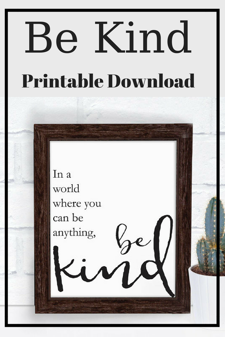 "In A World Where You Can Be Anything, Be Kind Printable regarding In-A-Word ""welcome"" Wall Decor By Fireside Home (Image 11 of 30)"