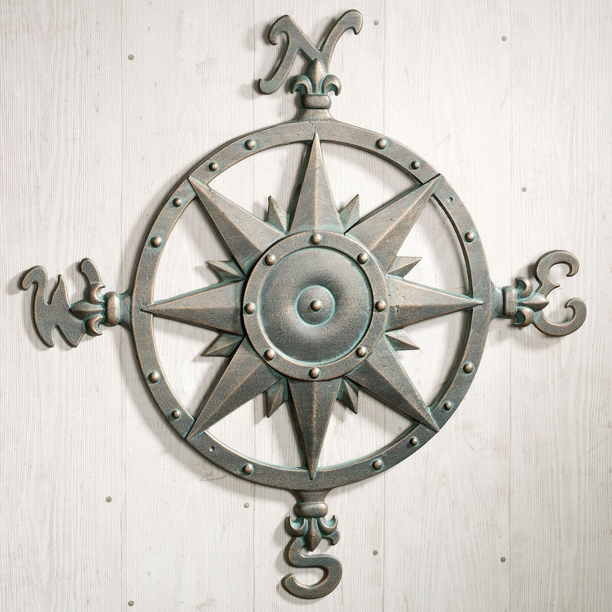 Indoor Outdoor Nautical Compass Metal Wall Art For Round Compass Wall Decor (View 14 of 30)