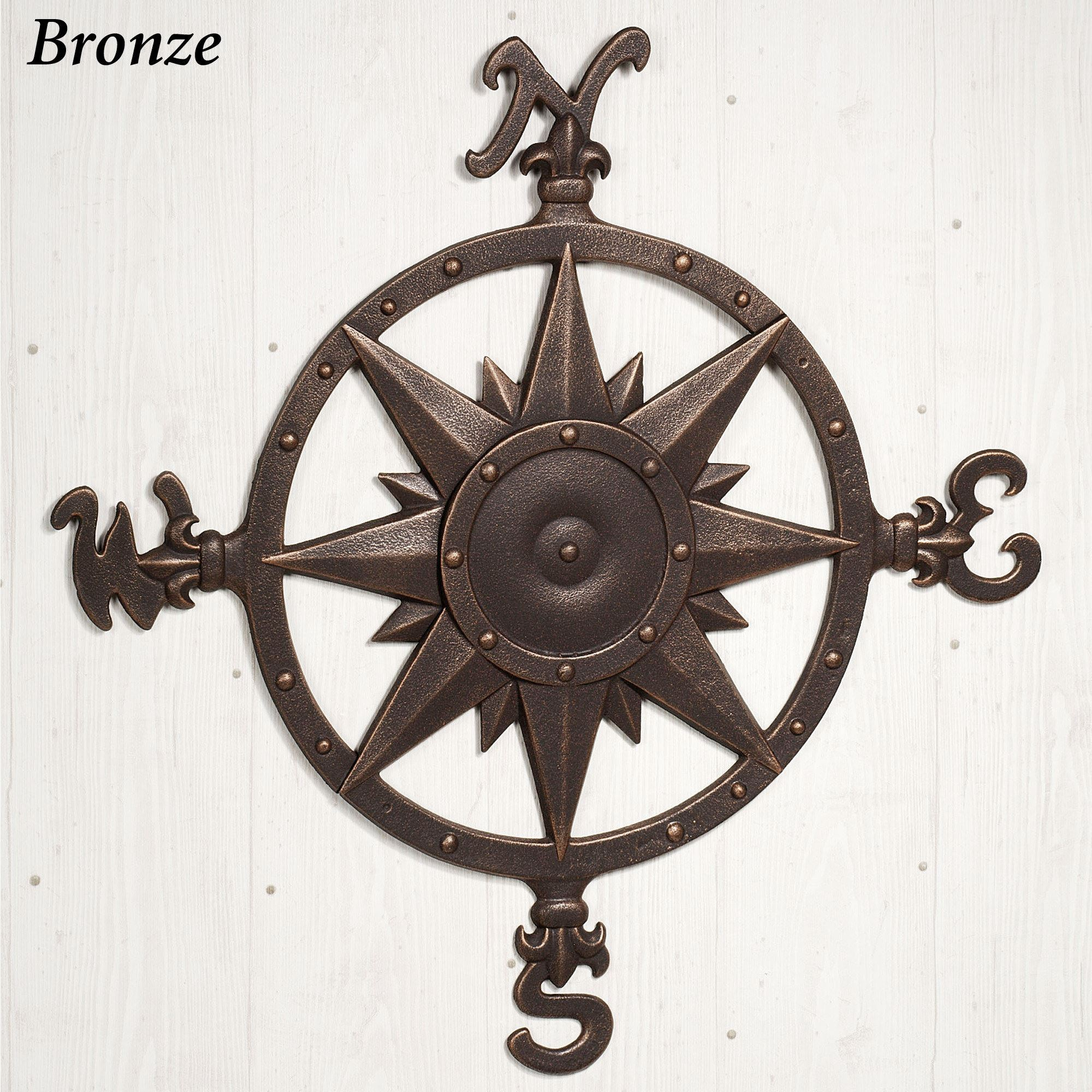 Indoor Outdoor Nautical Compass Metal Wall Art pertaining to Outdoor Metal Wall Compass (Image 22 of 30)