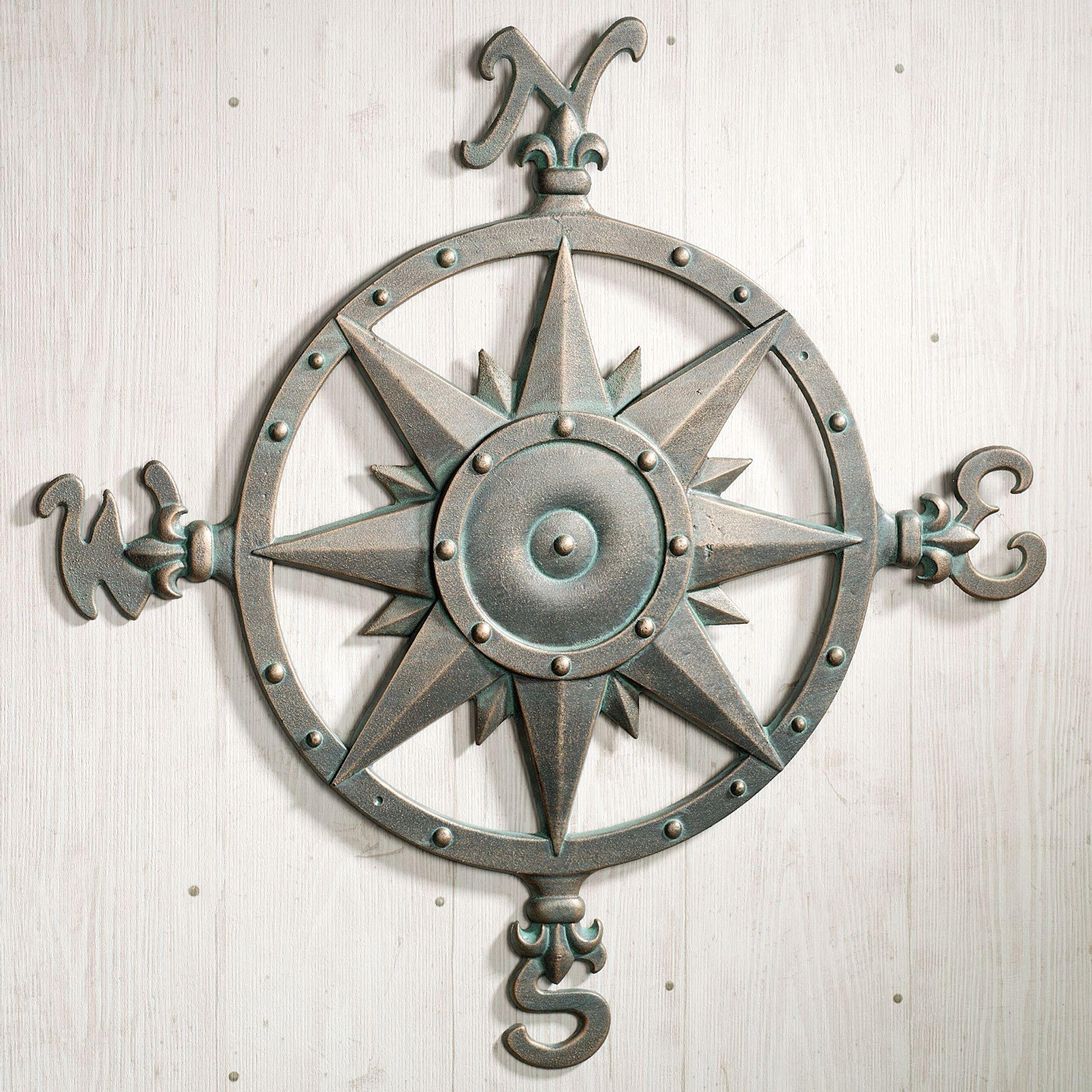 Indoor Outdoor Nautical Compass Metal Wall Art With Regard To Outdoor Metal Wall Compass (View 8 of 30)