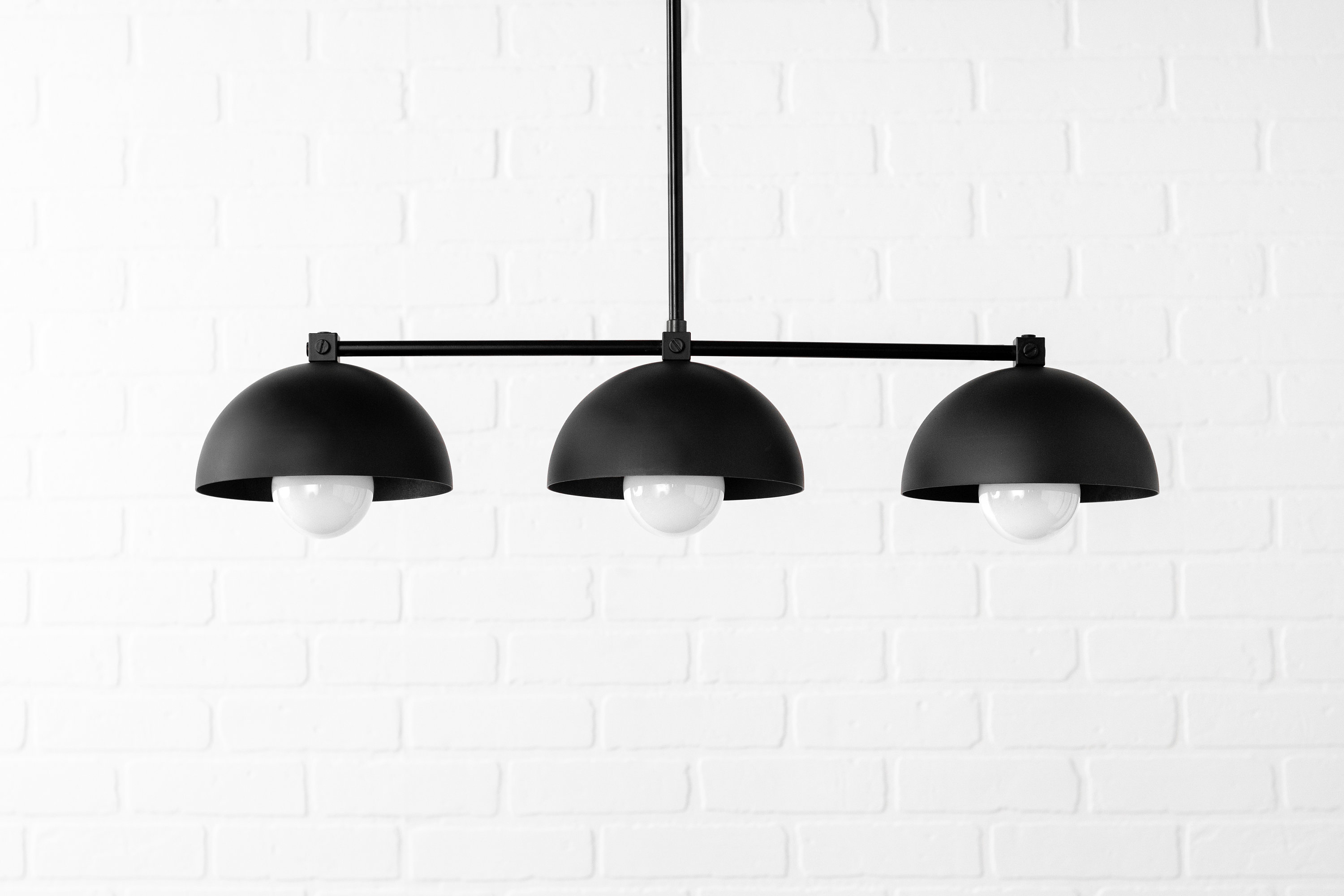 Industrial Black Dome - Three Shade Pendant Light - Kitchen Lighting - Long  Hanging Light - Island Lighting - Chandelier Lighting with Martinique 3-Light Kitchen Island Dome Pendants (Image 19 of 30)