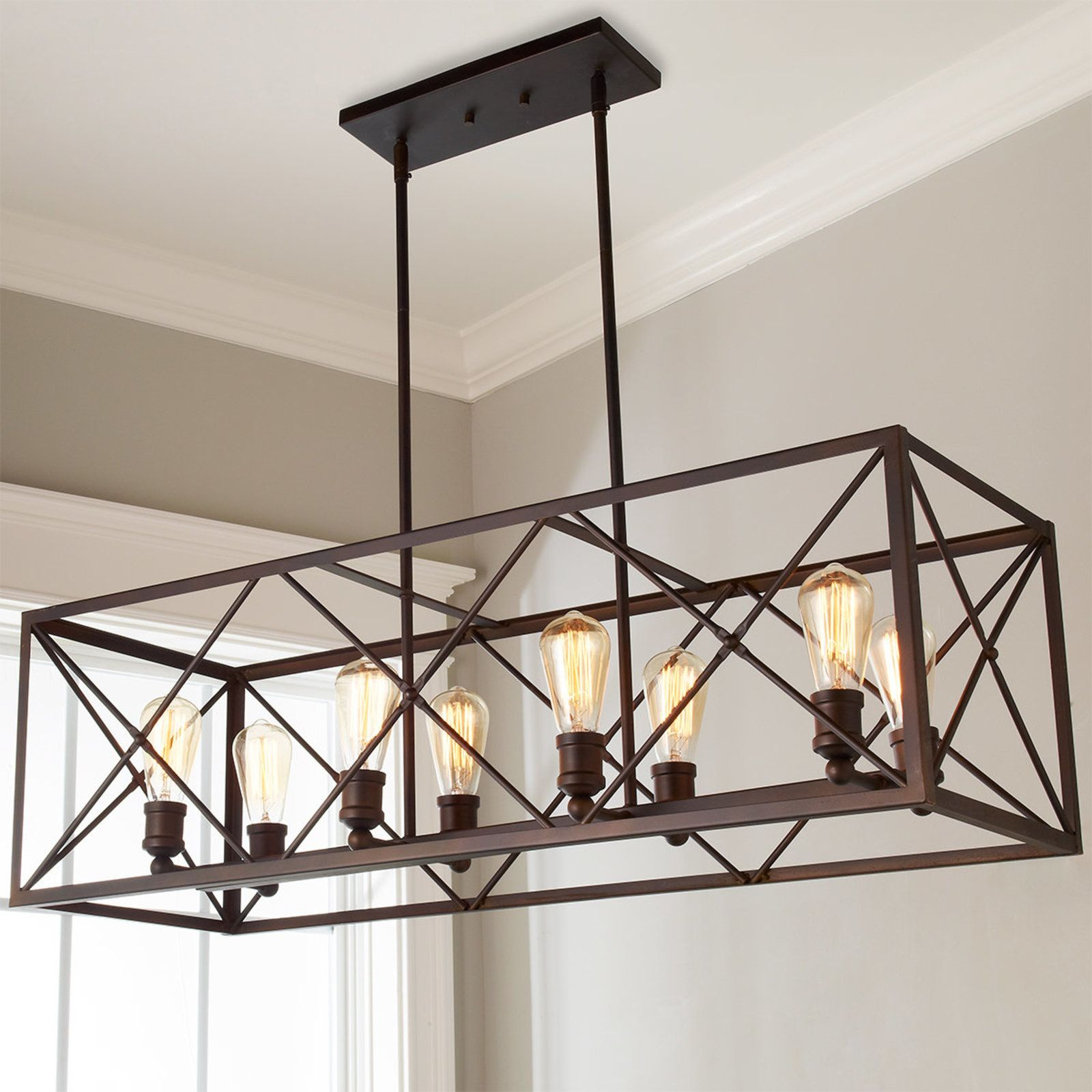 Industrial Cross Framed Box Island Chandelier | Lighting With Regard To Ellenton 4 Light Rectangle Chandeliers (View 15 of 30)
