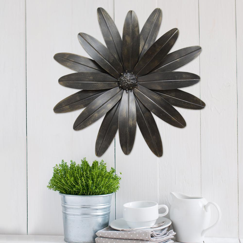 Industrial Flower Metal Wall Decor For 4 Piece Metal Wall Plaque Decor Sets (View 24 of 30)