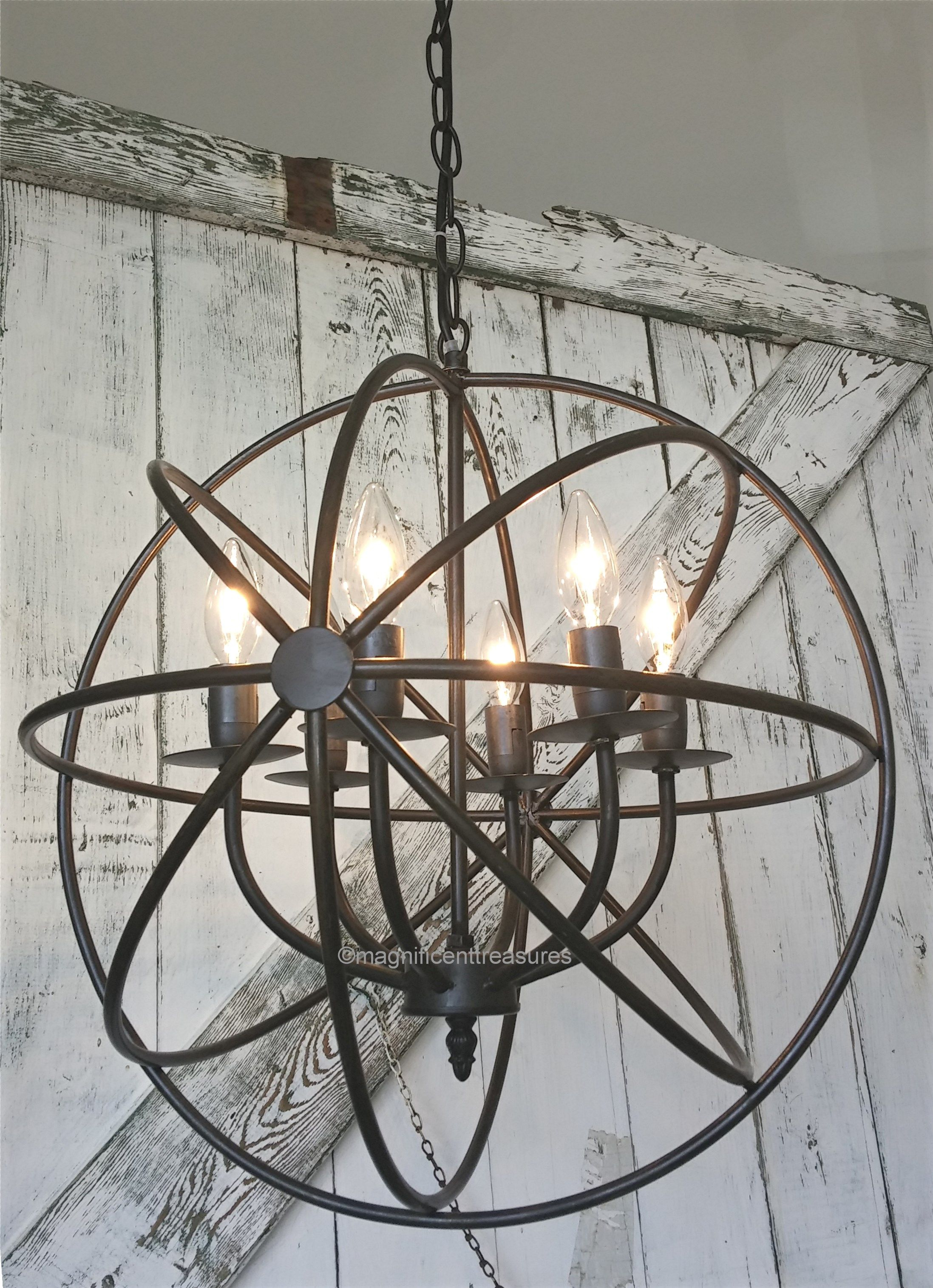 Industrial, Rustic Metal Round Armillary Sphere Chandelier In Verlene Foyer 5 Light Globe Chandeliers (View 22 of 30)
