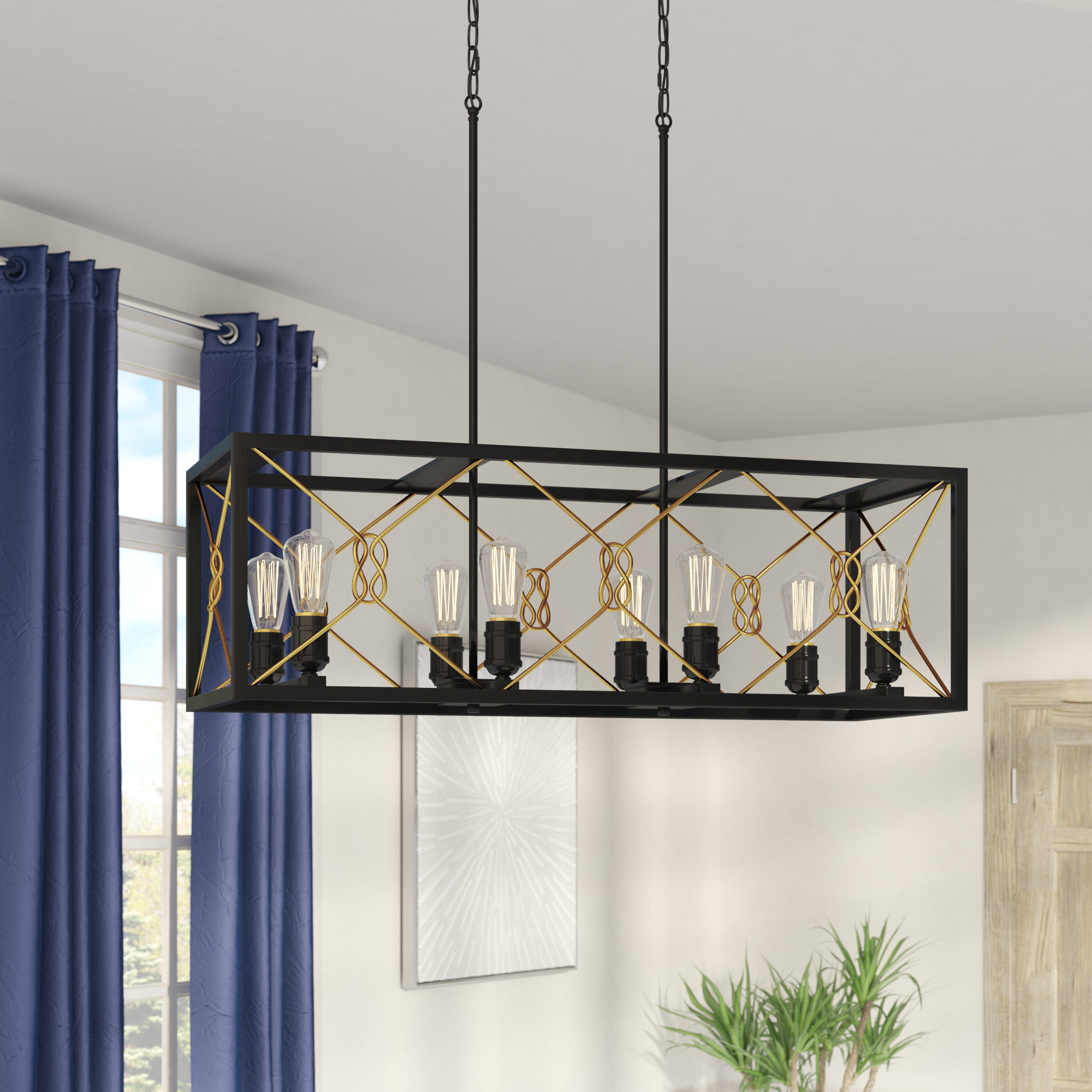 Industrial Square & Rectangular Chandeliers You'll Love In For Hewitt 4 Light Square Chandeliers (View 5 of 30)