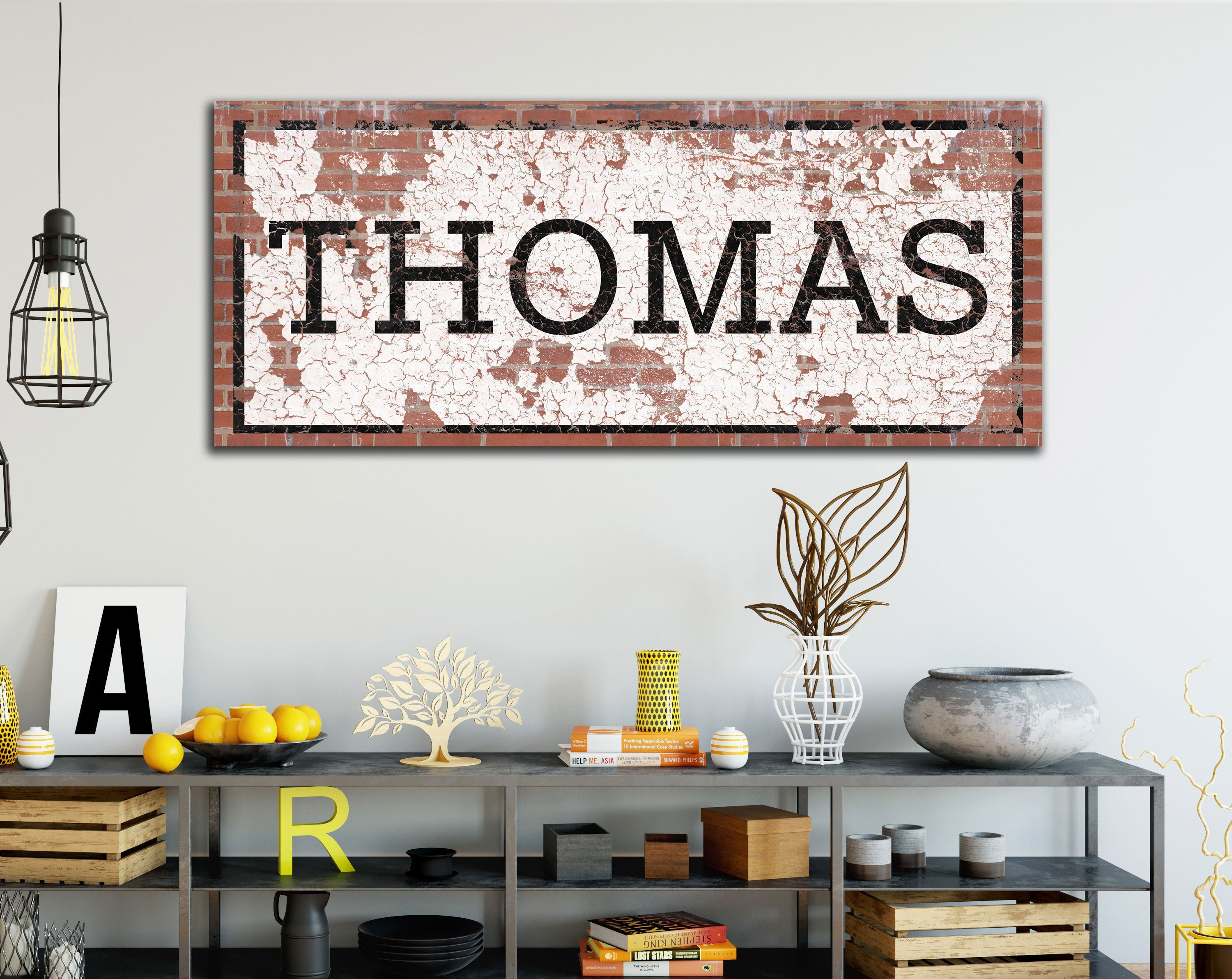 Industrial Wall Decor, Custom Last Name Art, Vintage Style Sign, Large  Canvas Urban Art, Distressed Rustic Family Sign, Unique Wedding Gift Pertaining To Large Modern Industrial Wall Decor (Photo 6 of 30)