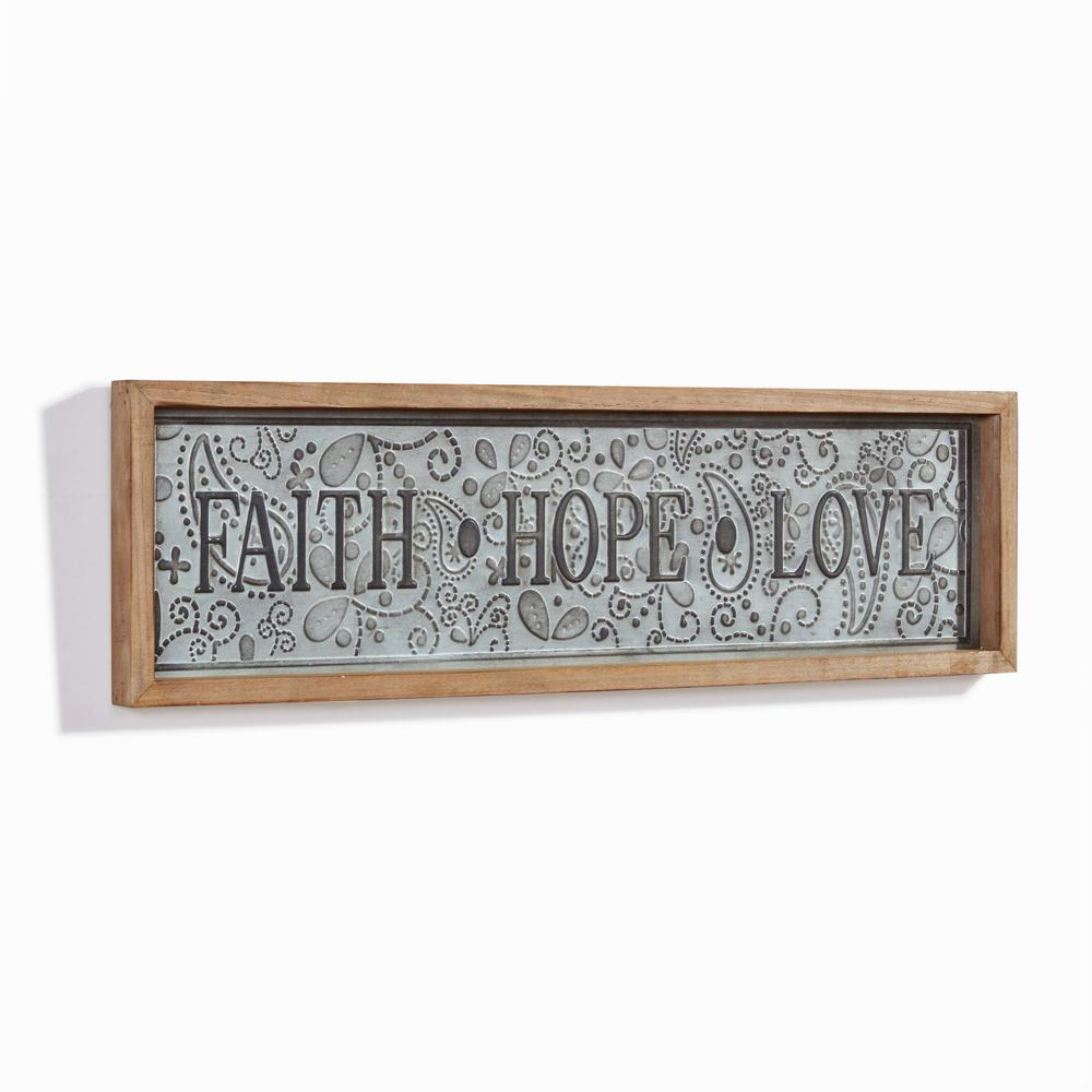 Inspirational Faith Hope Love Framed Metal Art Sign With Regard To Faith, Hope, Love Raised Sign Wall Decor (View 4 of 30)