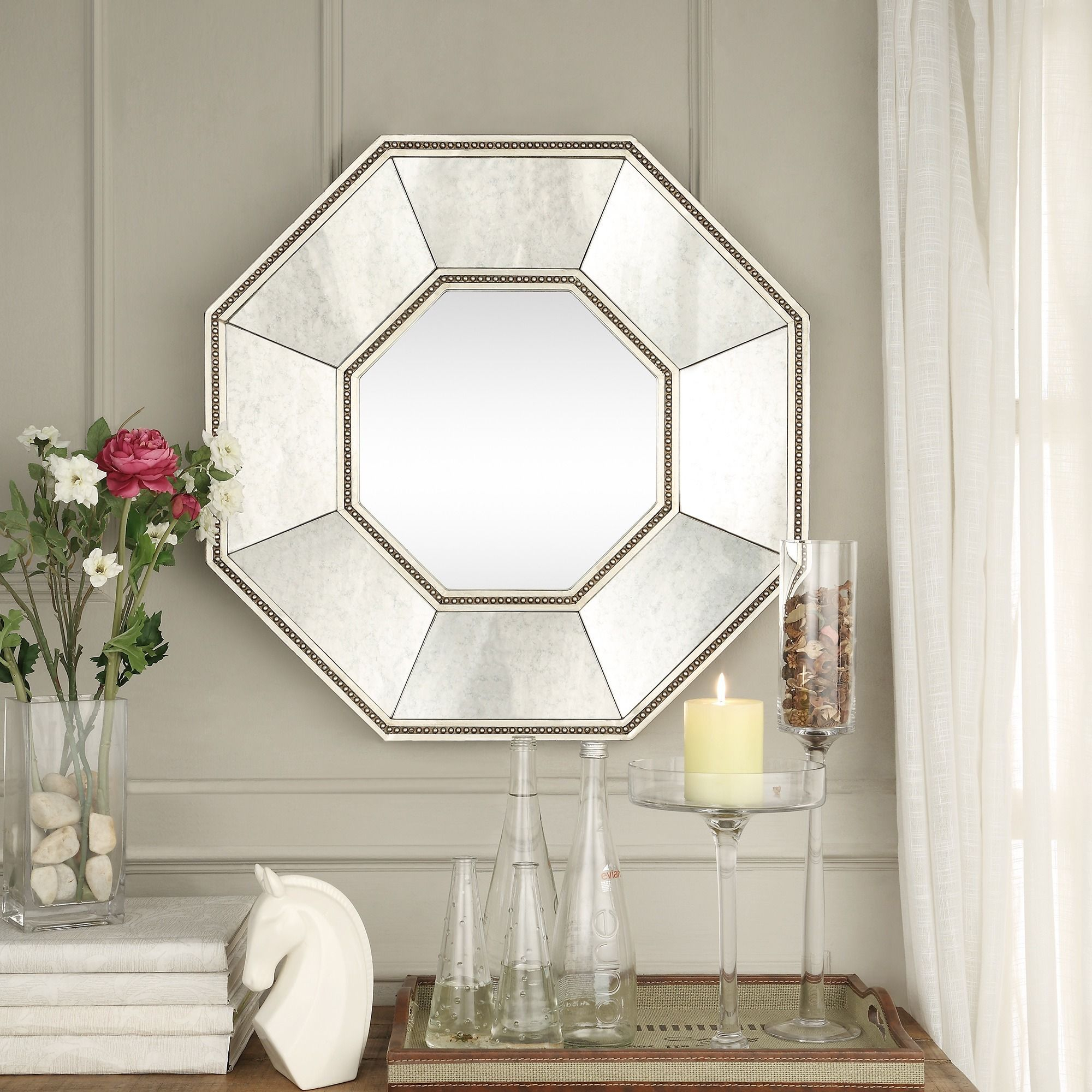 Inspire Q Faceted Beveled Beaded Trim Octagon Accent Wall Inside Beaded Accent Wall Mirrors (View 17 of 30)