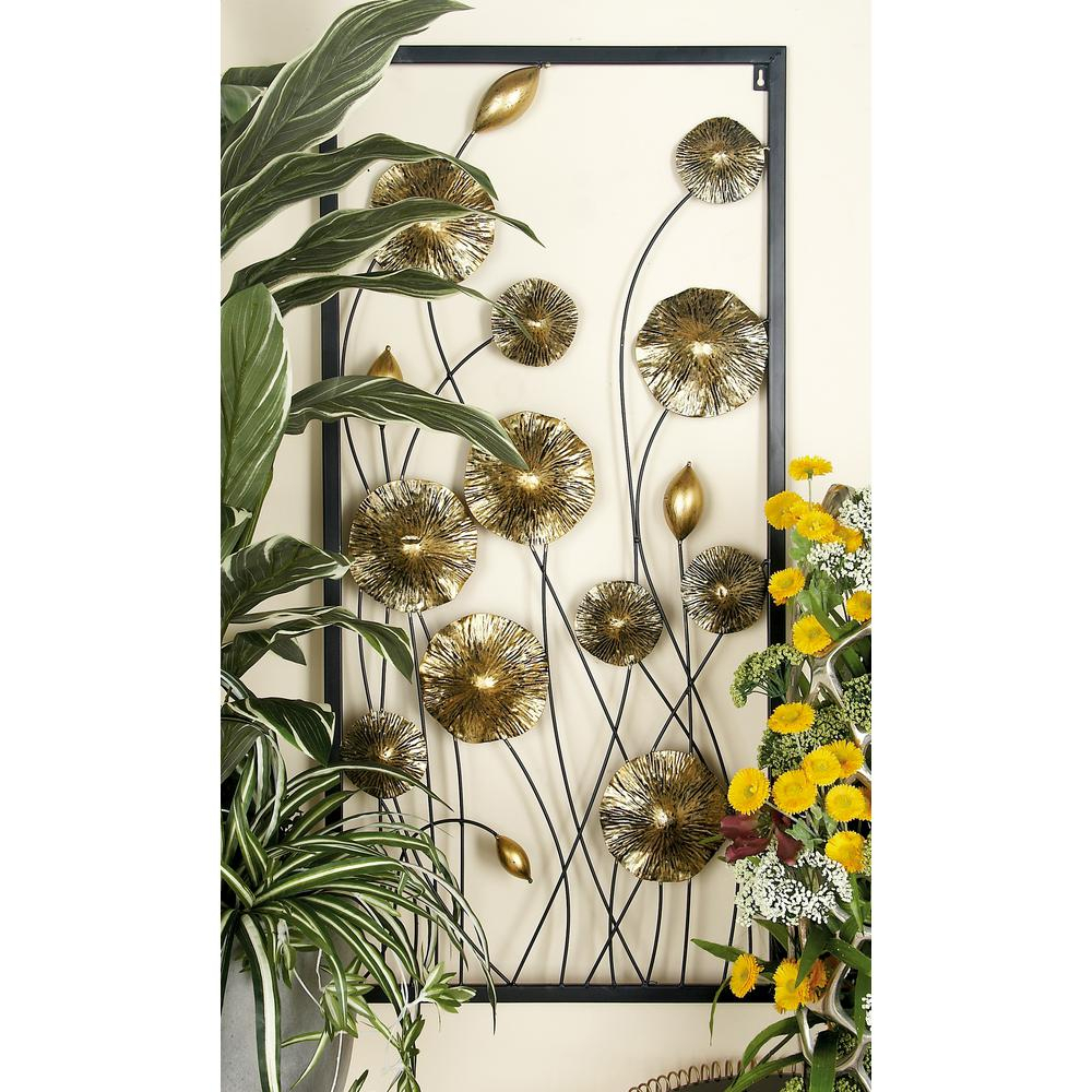 Iron Gold And Black Framed Flowers And Buds Triptych Metal Wall Decor (Set Of 3) In Metal Flower Wall Decor (Set Of 3) (View 17 of 30)