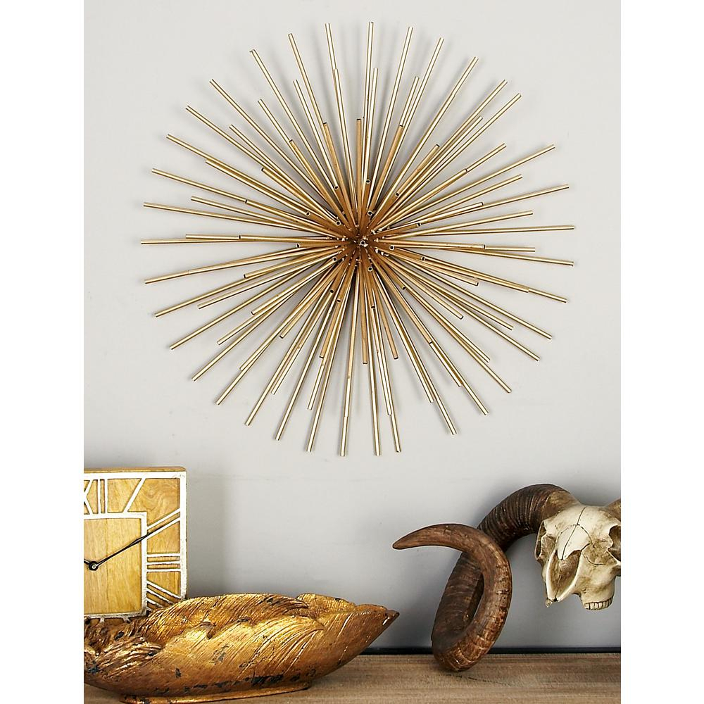 Iron Metallic Gold Round Spiked Wall Decor (Set Of 3) Regarding Contemporary Abstract Round Wall Decor (View 10 of 30)