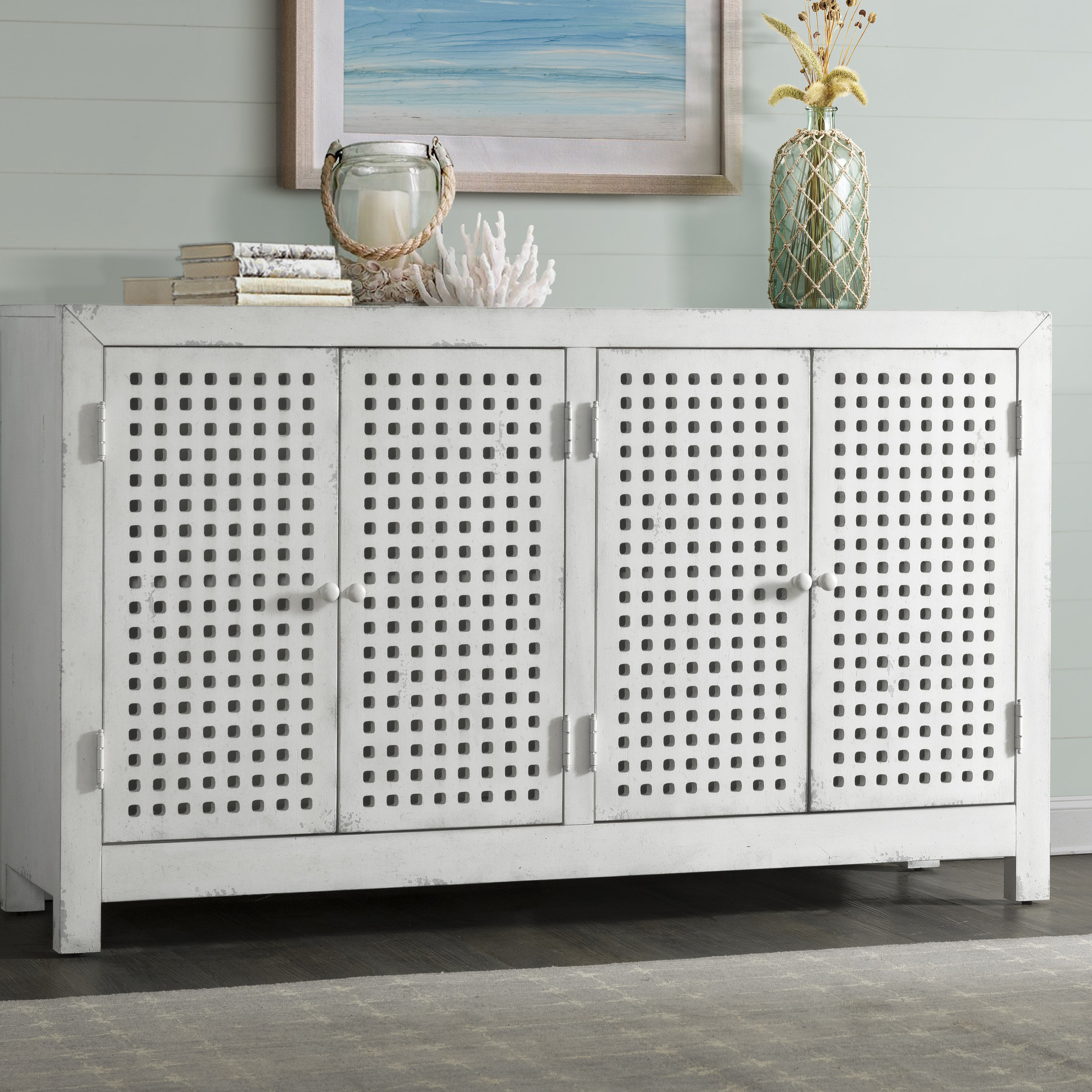 Isherwood Four Door Pierced Grid Sideboard intended for Saguenay Sideboards (Image 8 of 30)