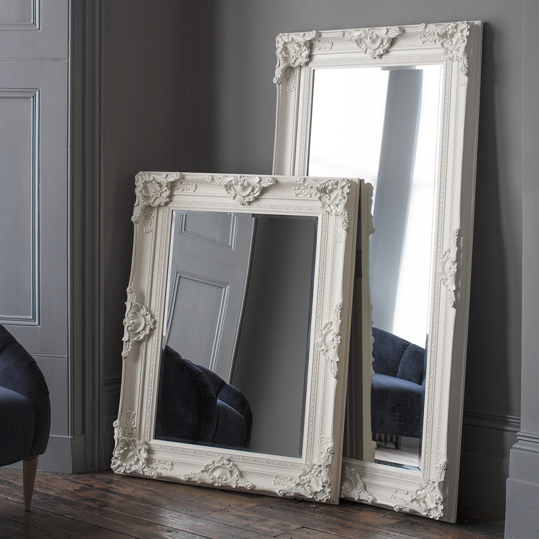 Ivory Ornate Wall & Floor Mirror in Rectangle Ornate Geometric Wall Mirrors (Image 10 of 30)