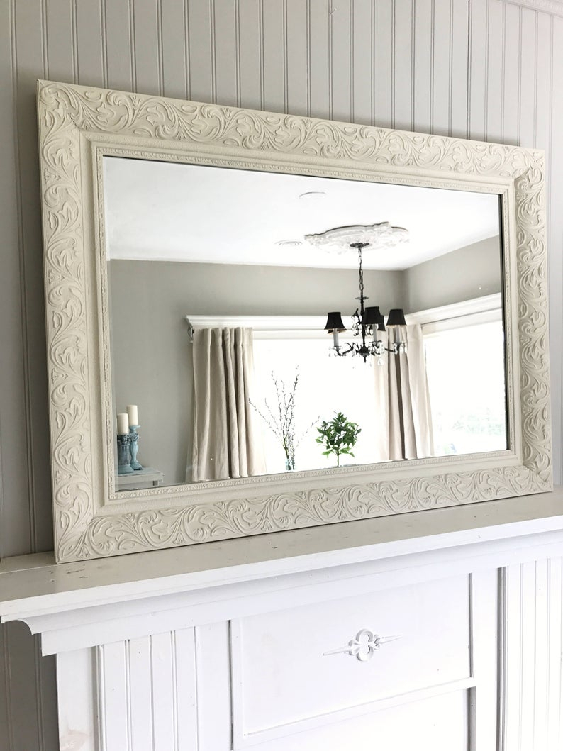 Ivory Shabby Chic Mirror, Leaning Mirror Intended For Leaning Mirrors (View 19 of 30)