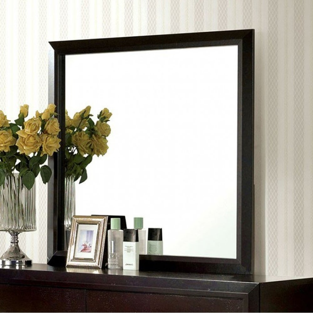Janine Transitional Style Dark Espresso Mirror in Minerva Accent Mirrors (Image 8 of 30)