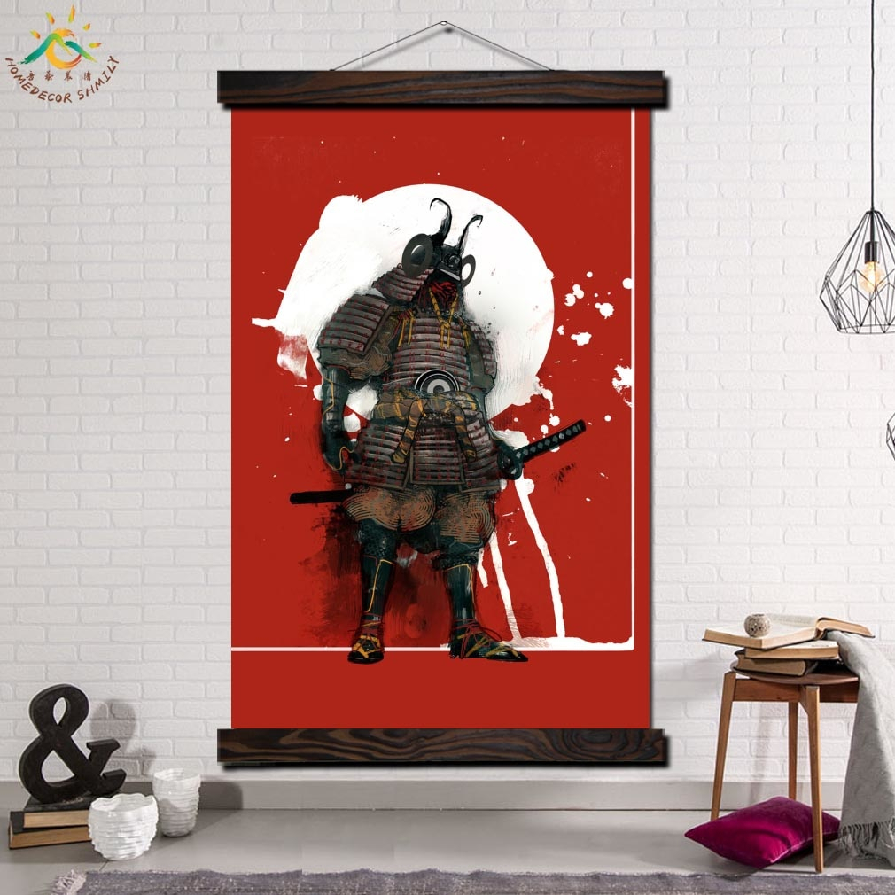 Japan Samural Single Framed Scroll Painting Modern Canvas Art Prints Poster Wall Painting Artwork Wall Art Pictures Home Decor In Scroll Framed Wall Decor (View 12 of 30)