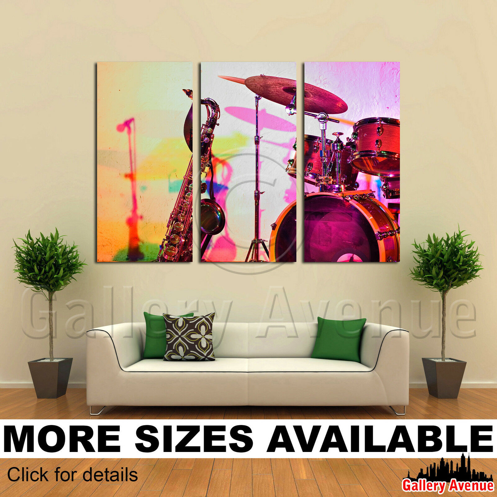 Jazz – Print Canvas Panel 3 Instruments Picture (View 18 of 30)