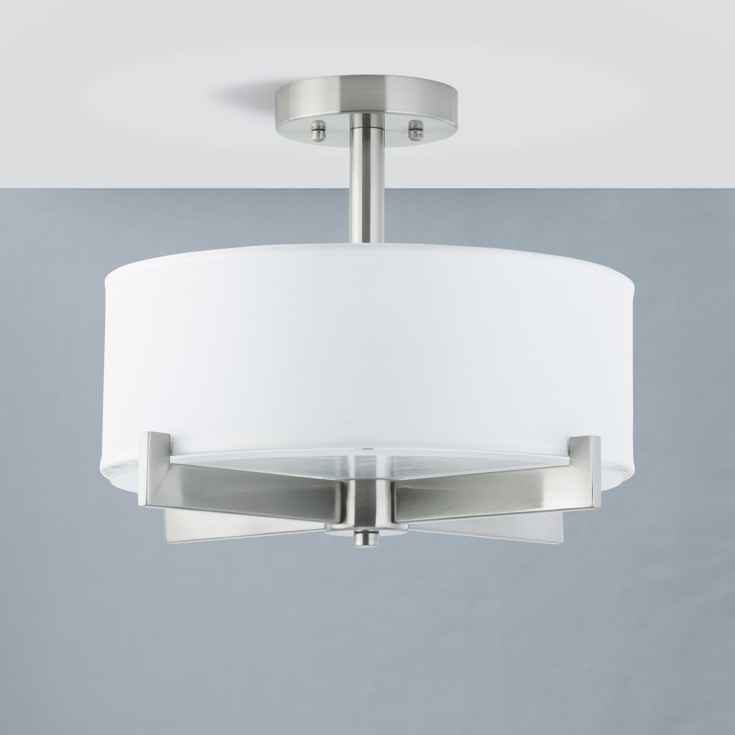 Jerrod 3 Light Semi Flush Mount Intended For Breithaup 4 Light Drum Chandeliers (View 18 of 30)