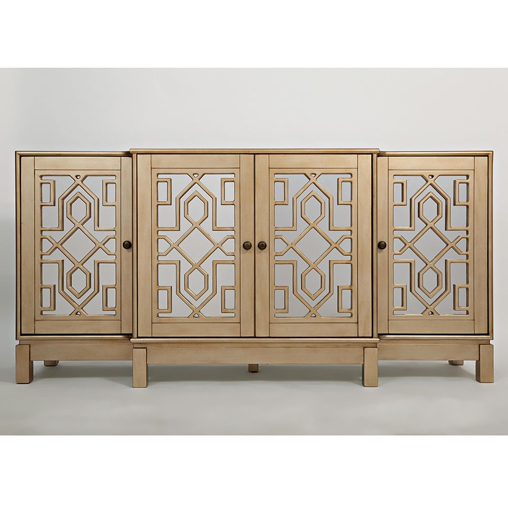 "Jofran 1555-70 Casa Bella 70"" Mirrored Console Tv Stand within Stillwater Sideboards (Image 12 of 30)"