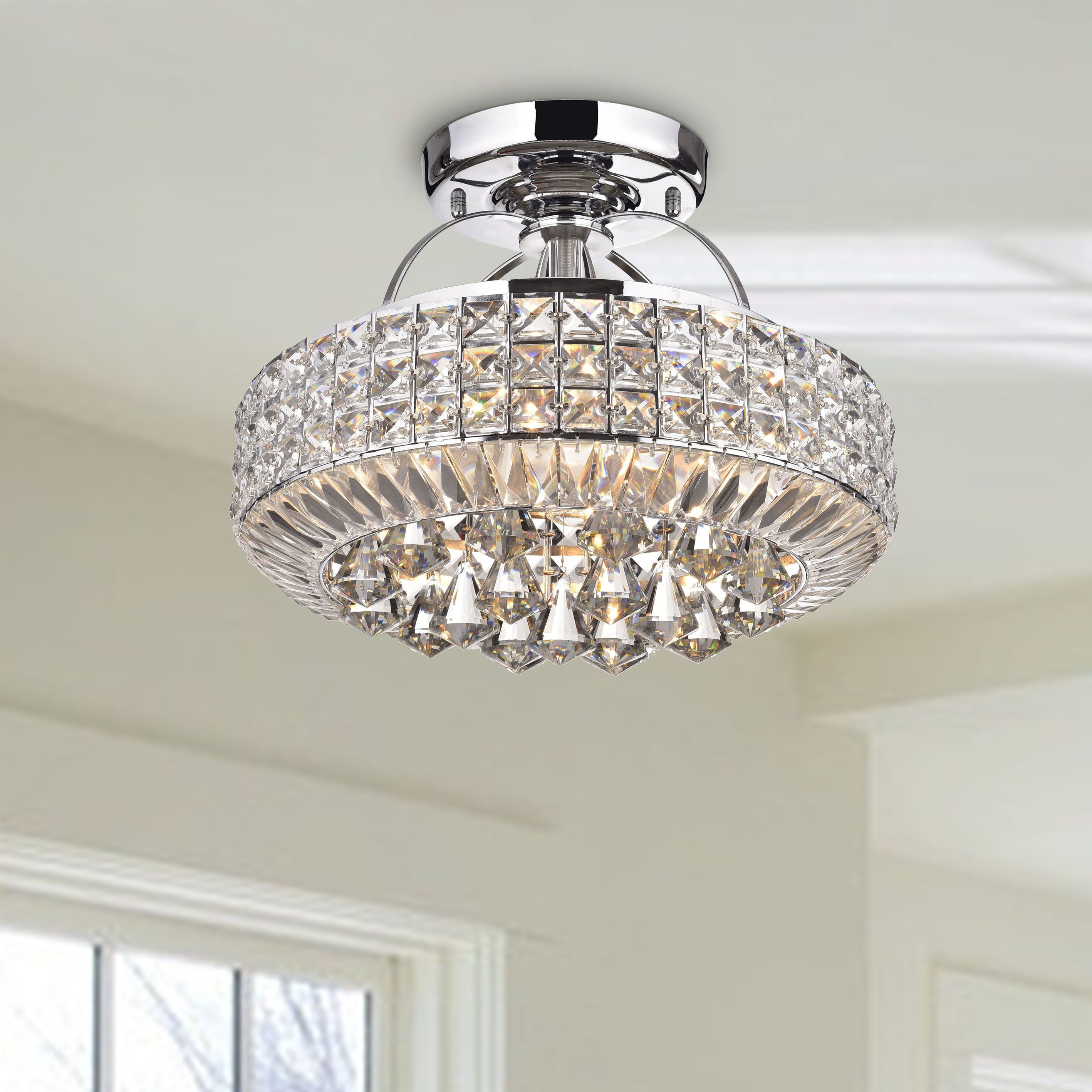 Jolie Chrome Drum Shade Crystal Semi Flush Mount Chandelier with regard to Mcknight 9-Light Chandeliers (Image 17 of 30)