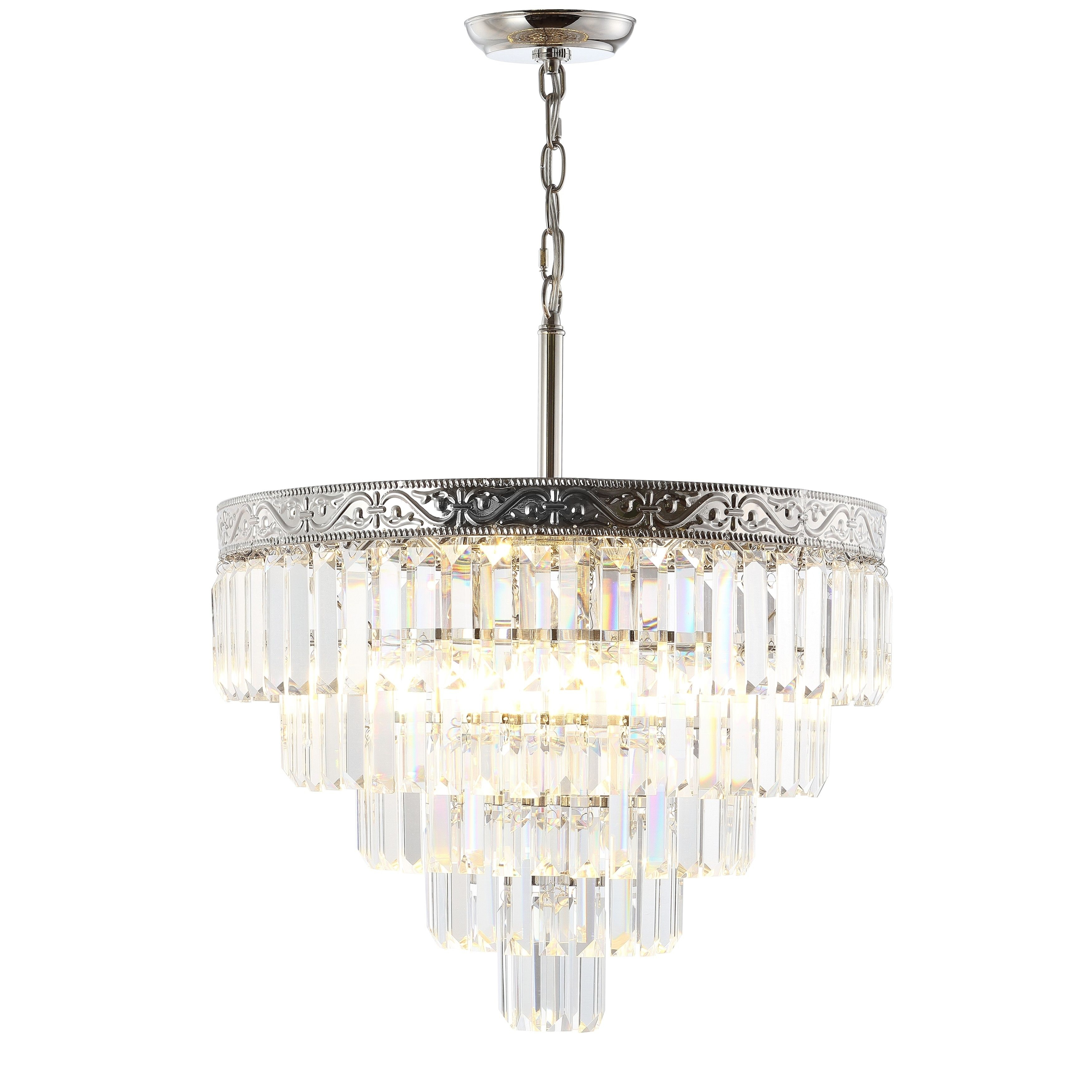 Jonathan Y Wyatt 20 4 Light Crystal Led Chandelier, Polished Within Abel 5 Light Drum Chandeliers (Image 19 of 30)