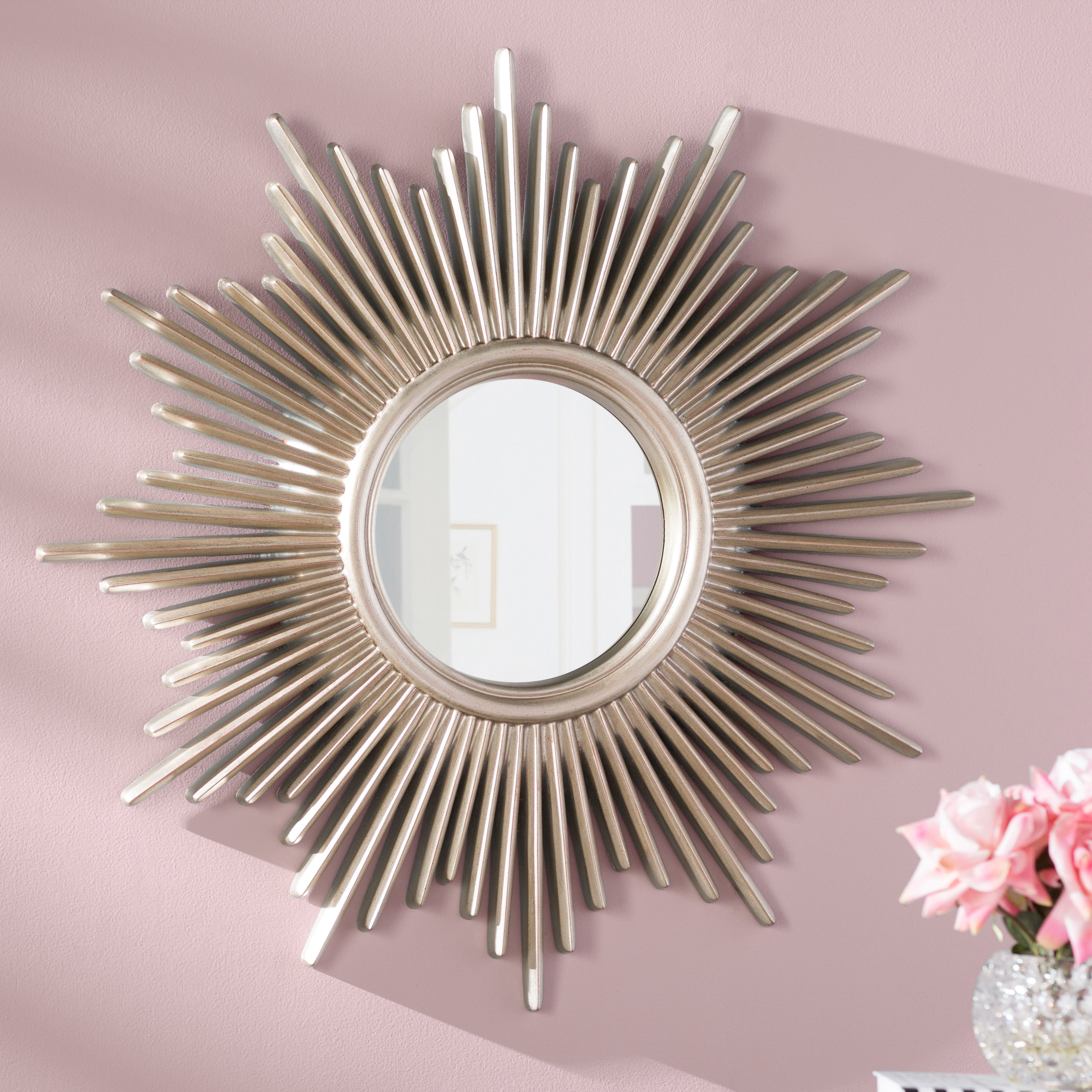 Josephson Starburst Glam Beveled Accent Wall Mirror Regarding Glam Beveled Accent Mirrors (View 8 of 30)