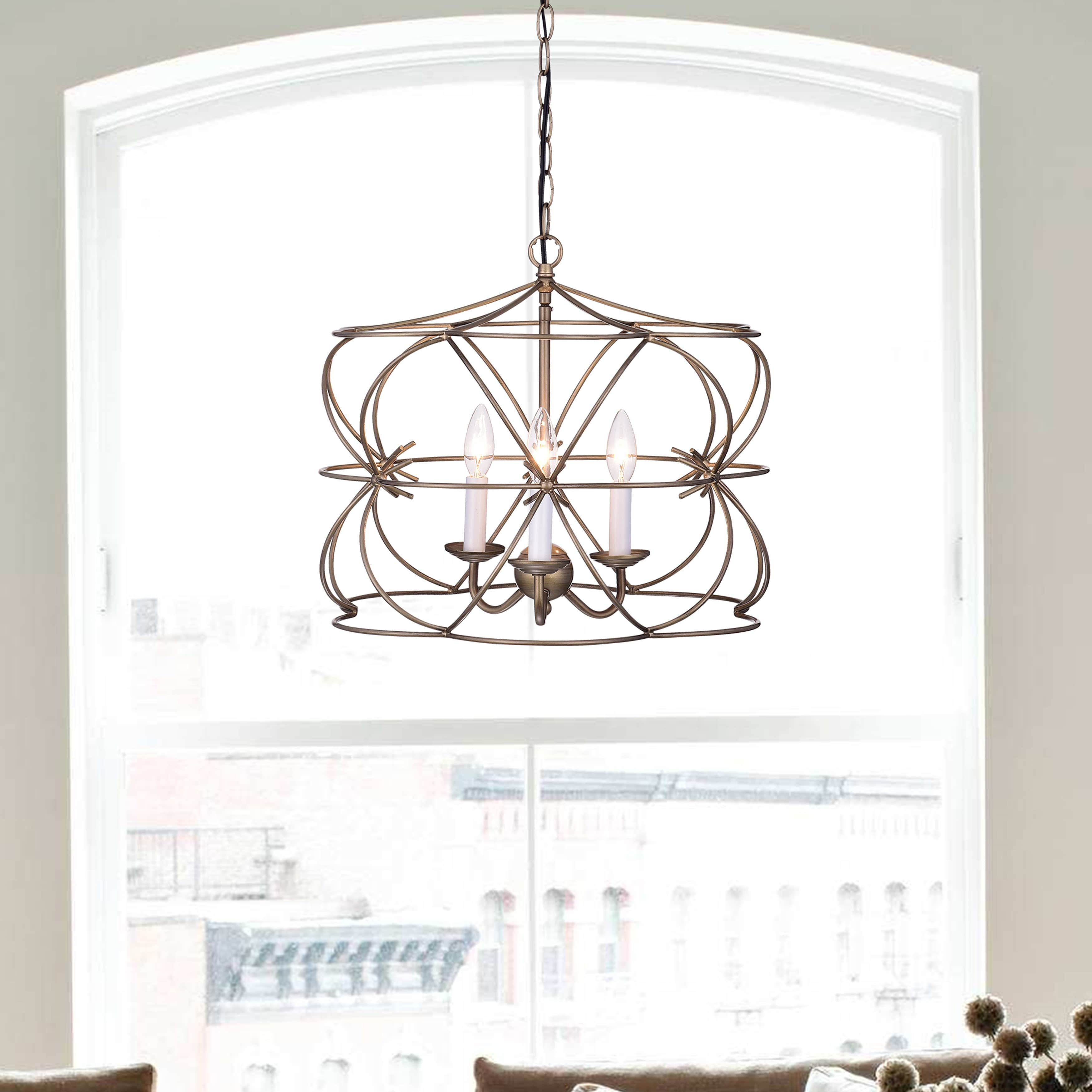 Joshua Antique Copper 3-Light Iron Stem Cage Chandelier In throughout Waldron 5-Light Globe Chandeliers (Image 18 of 30)