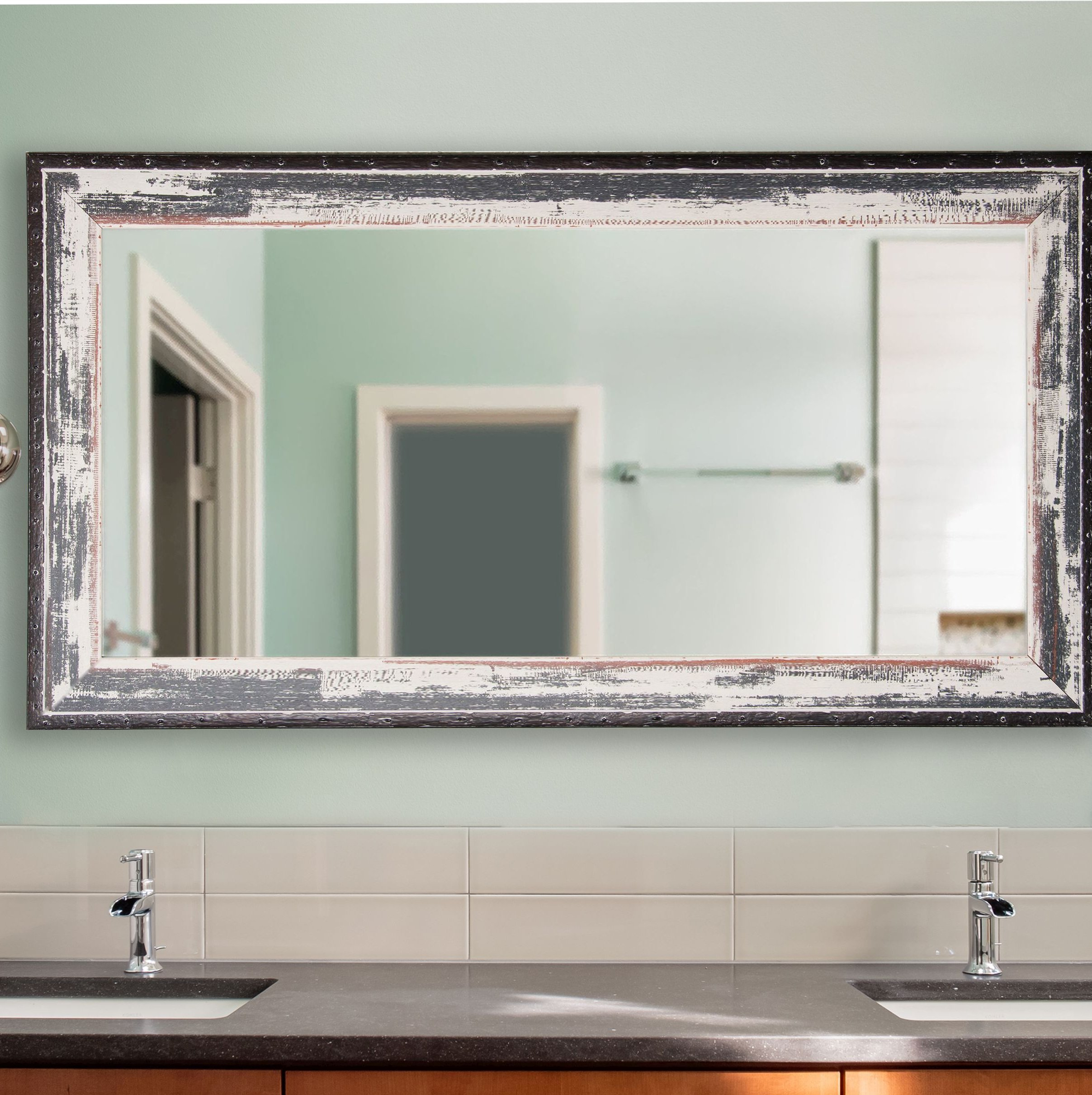Junipero Modern & Contemporary Bathroom/vanity Mirror In Landover Rustic Distressed Bathroom/vanity Mirrors (View 16 of 30)