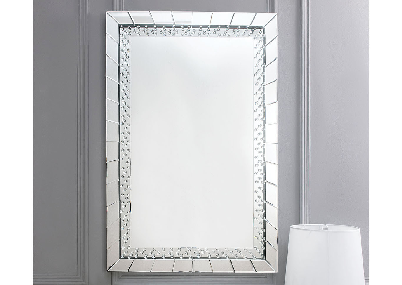 Just Furniture Nysa Mirror Tile Frame Accent Mirror Regarding Silver Frame Accent Mirrors (View 8 of 30)