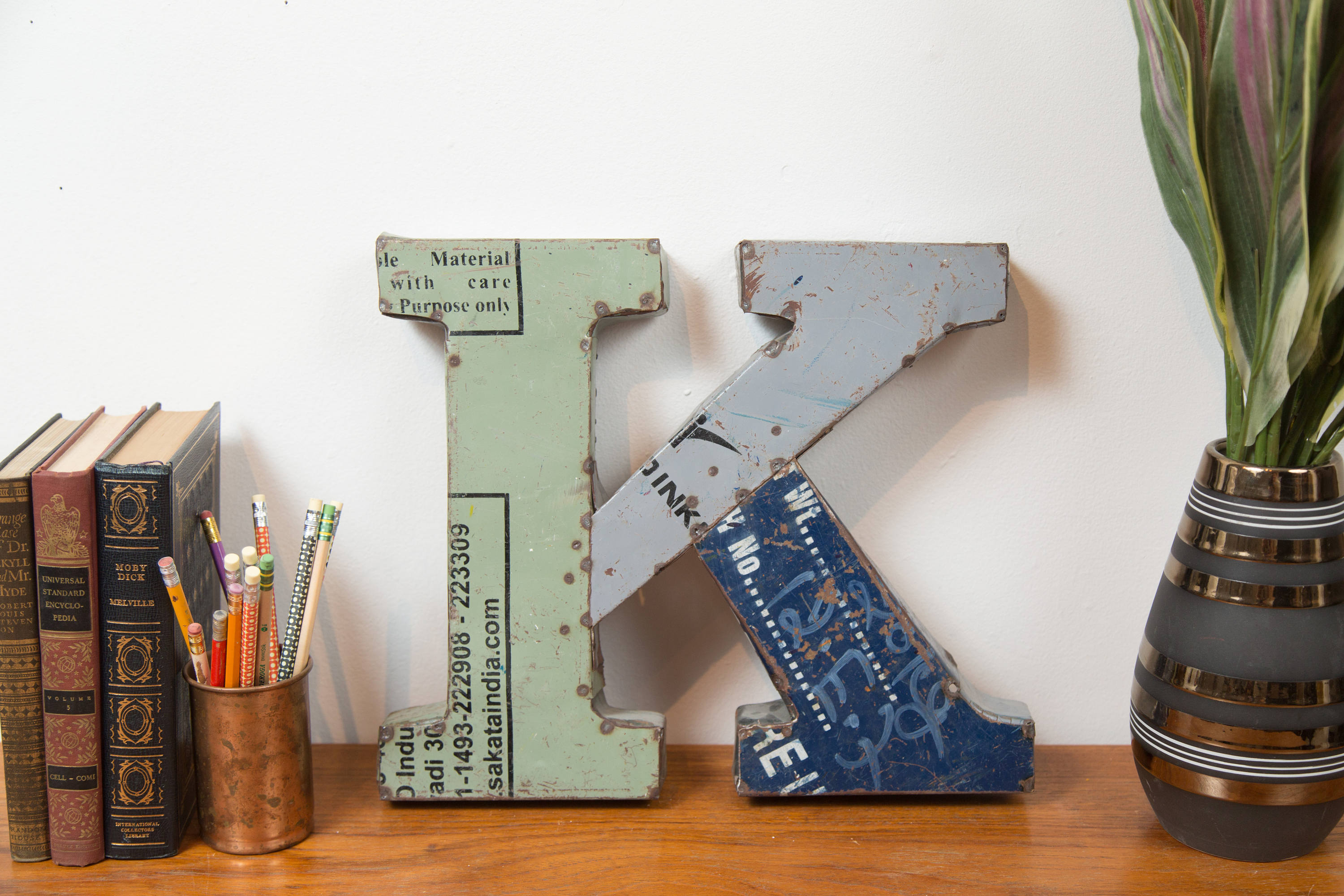 K Marquee Letter – Recycled Metal Blue Green And Grey Store Regarding Metal Universal Wall Decor (View 23 of 30)